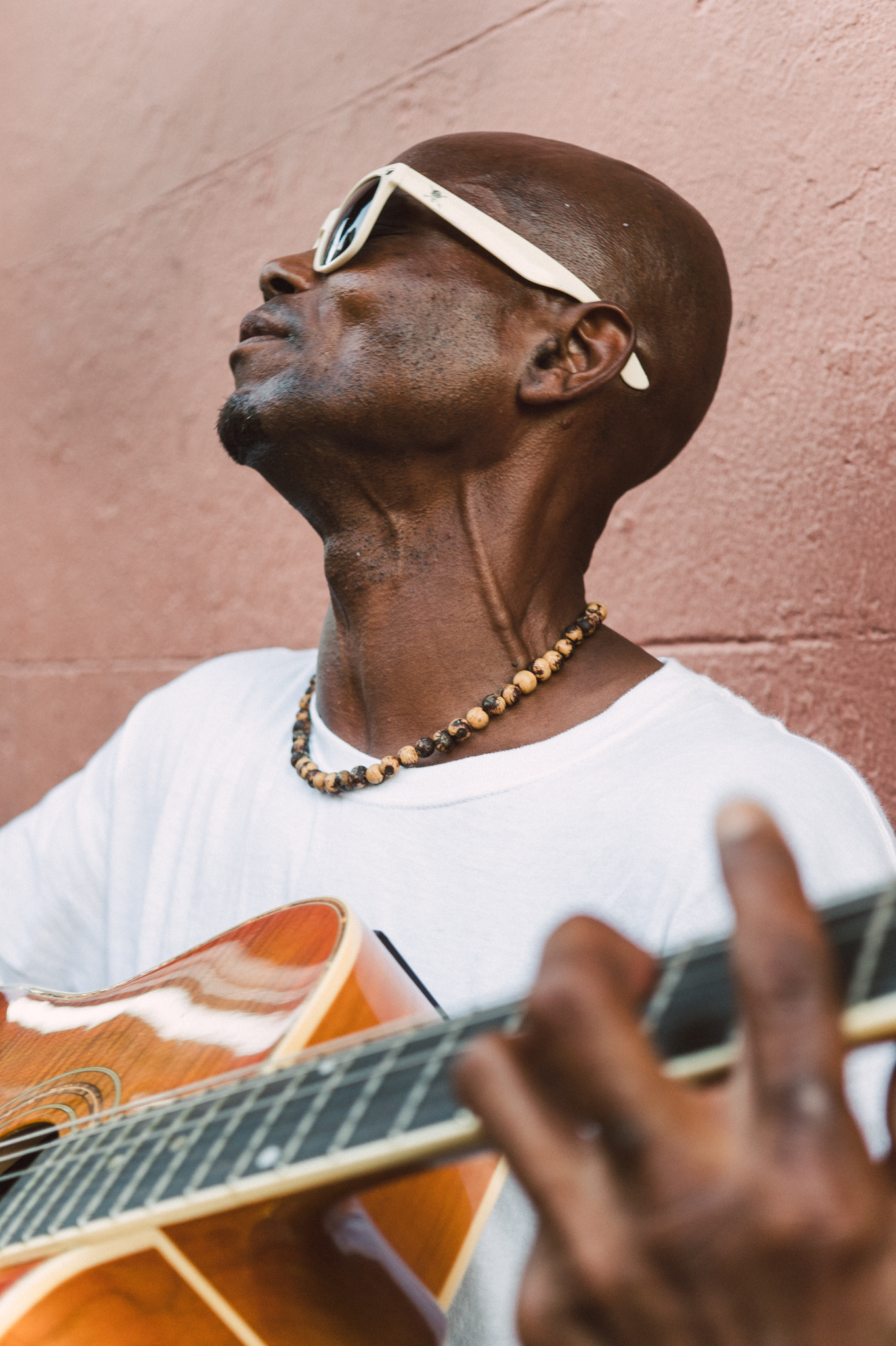 A street musician playing in the French Quarter.