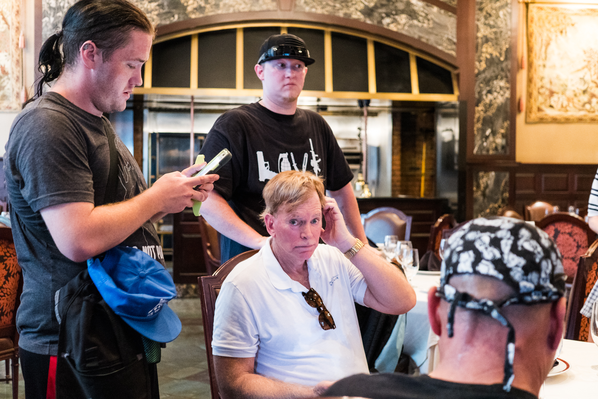 David Duke after escaping into the Rib Room at the Omni Hotel in the French Quarter.