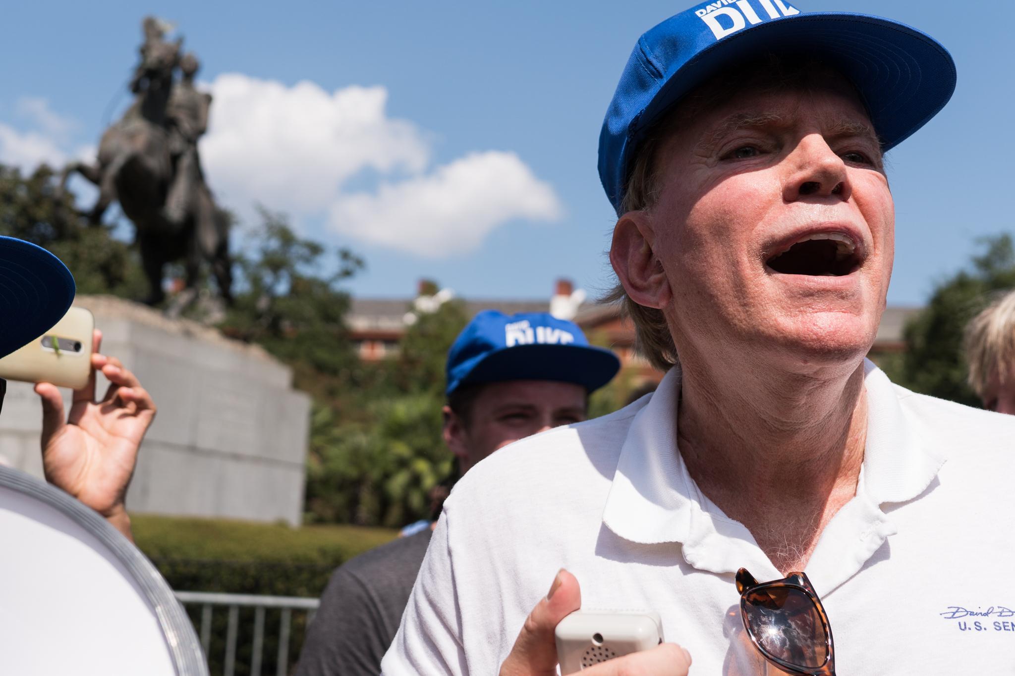 David Duke yelling back at protesters.