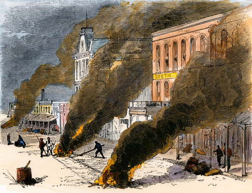 Once thought to be spread through miasma, fires of tar were made to cleanse cities of yellow fever. This plate is an illustration of a tar fire in Shreveport, Louisiana.