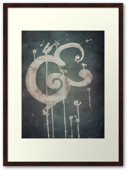 Abstract Ampersand Bold Brush Script Framed in Blue