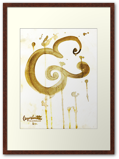 Abstract Ampersand Bold Brush Script Framed in French Press Coffee Stain