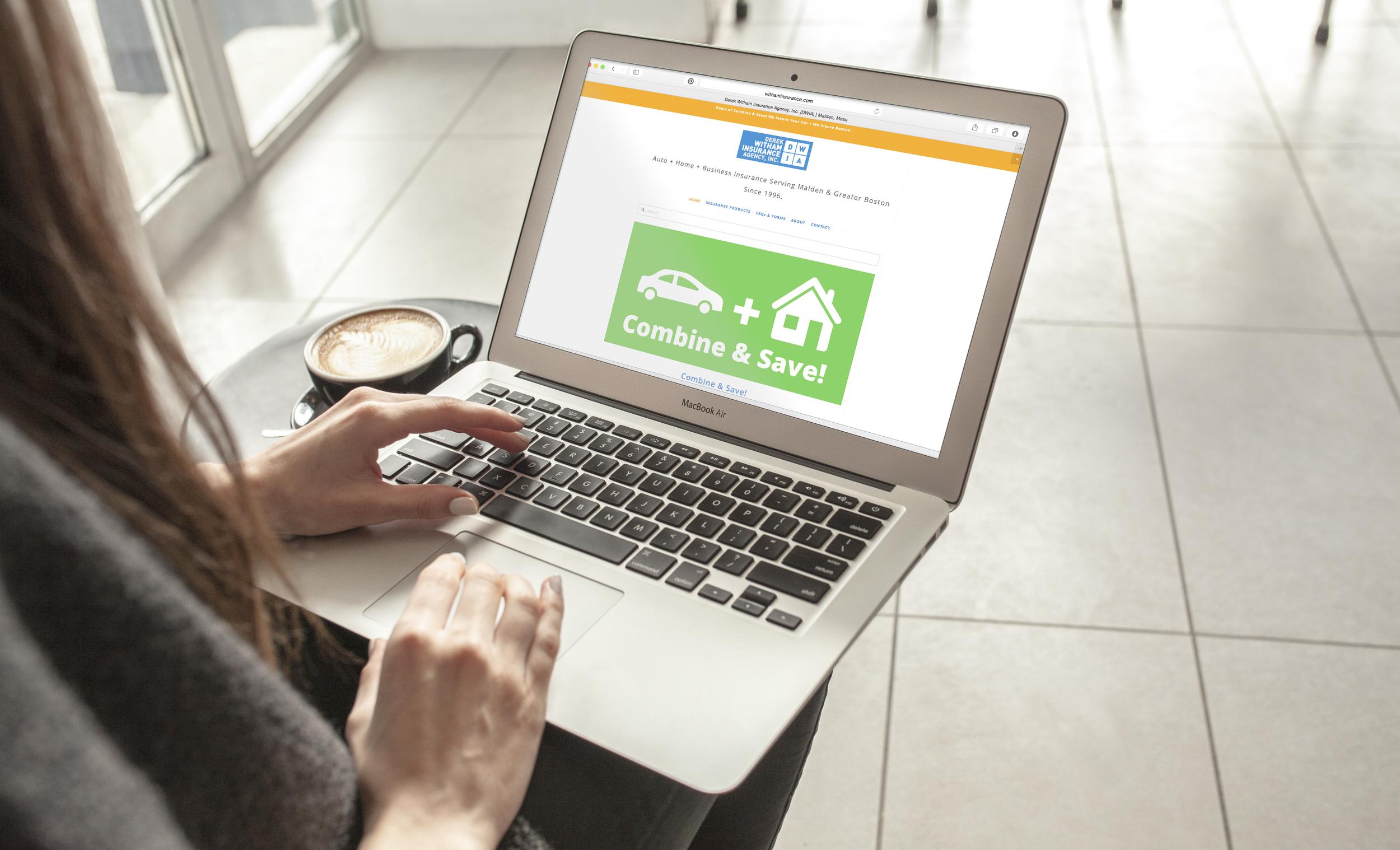 Derek Witham Insurance Agency, Inc. - Website on Laptop
