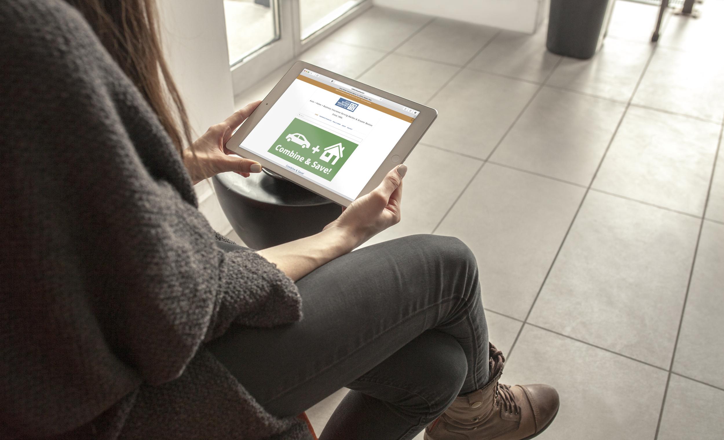 Derek Witham Insurance Agency, Inc. - Website on Tablet - 2