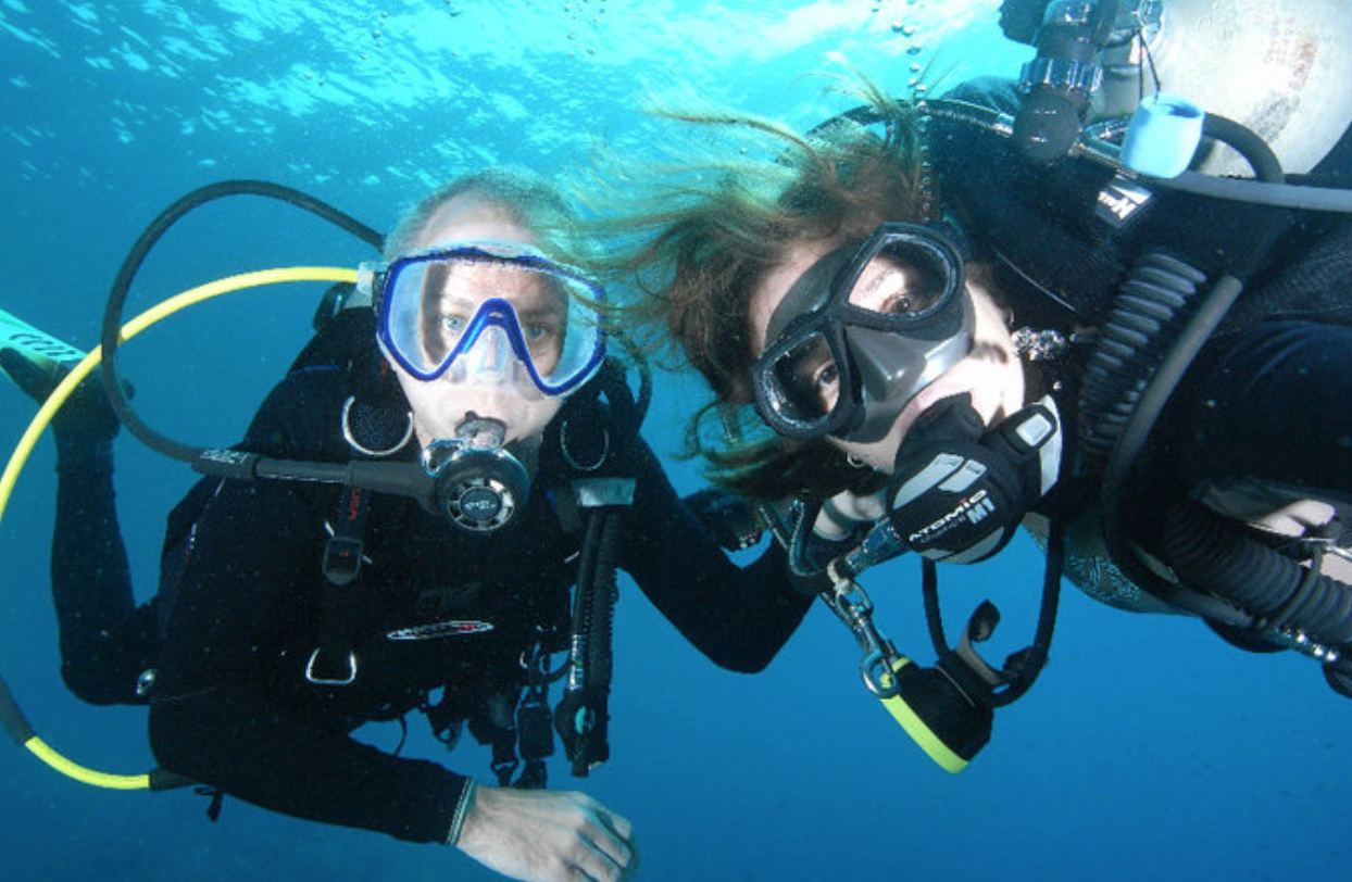 One of many hobbies we have in common - SCUBA diving. Self portrait taken by Kristen.