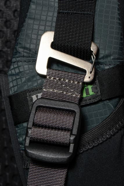 A close-up of the shoulder straps and the rigging mounted on them. This buckle is for the optional tripod mount. There are also elastic pockets on the shoulder straps that can be used to hold a GPS, cell phone, or Snickers bar.