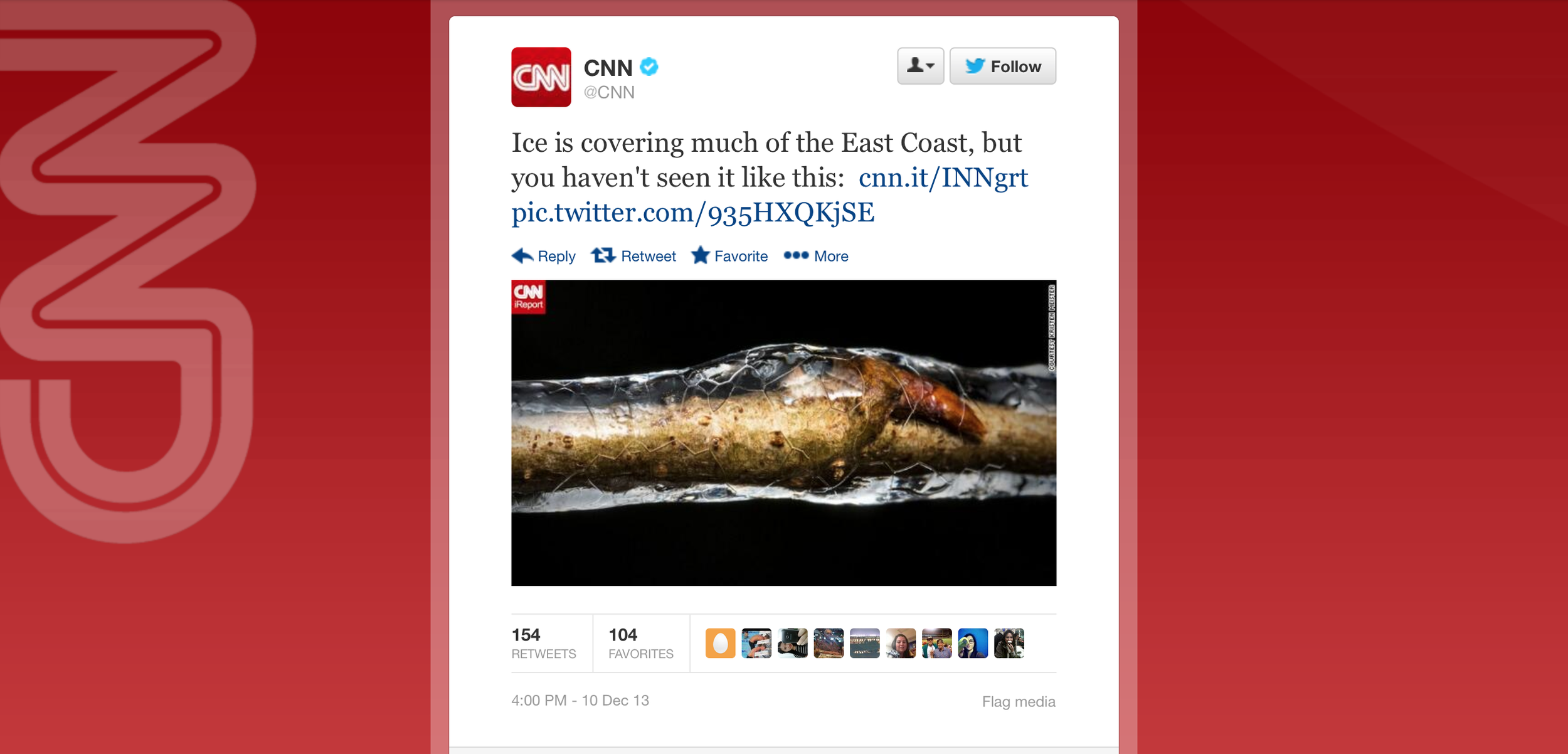 CNN's official Twitter feed posted a photo and the article!