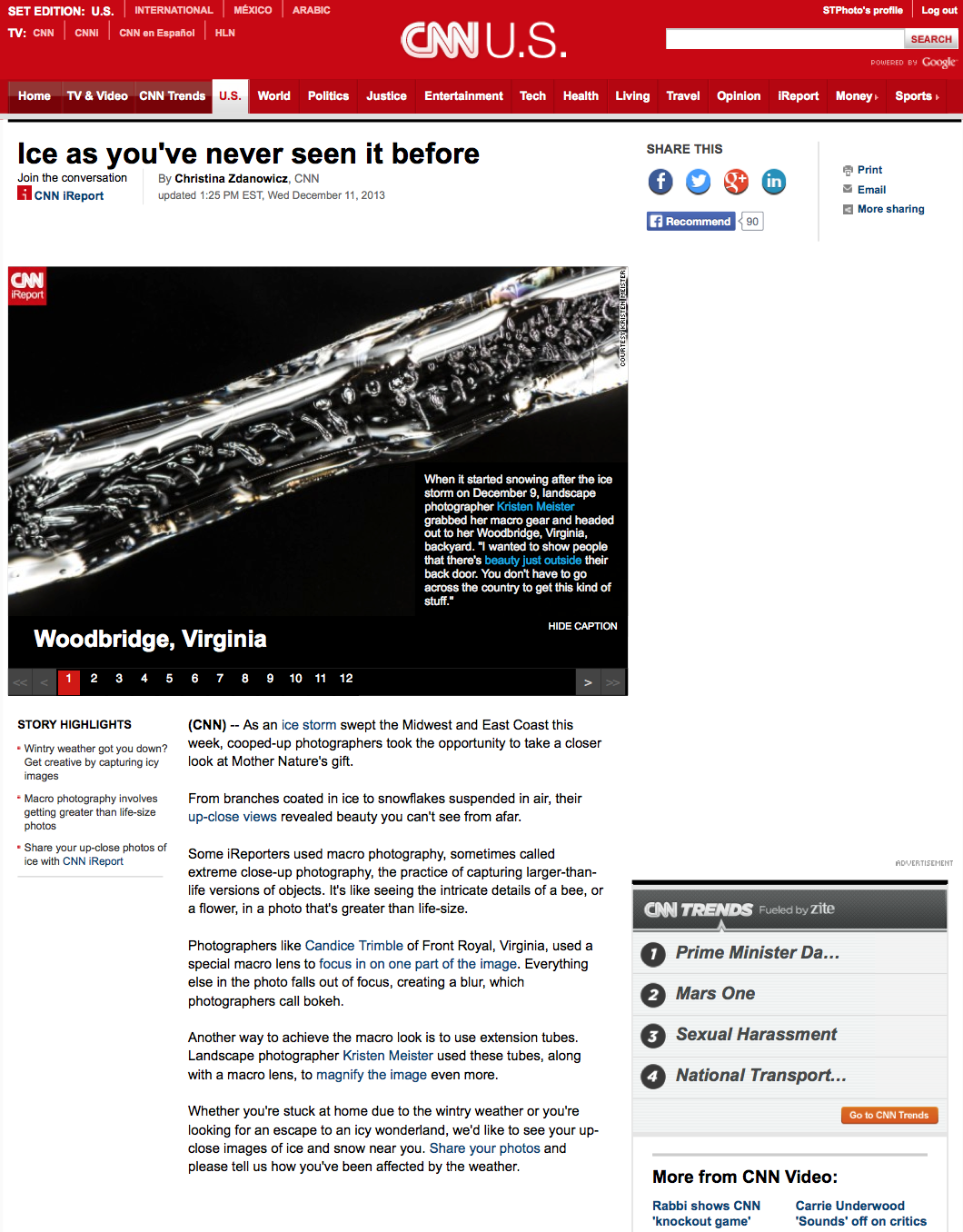 The article as it appeared on CNN.com - linked from the CNN home page. The first two images were from my submission to CNN's editors.