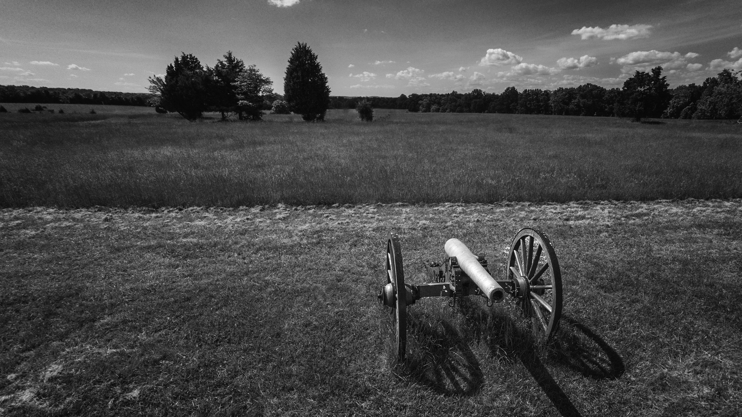 One of the canons at the battlefield. I am maybe only 60ft off the ground for this photo, but it helps give a different and unique perspective - which is why I got it! Edited in Adobe Camera RAW and Nik Silver Efex 2.