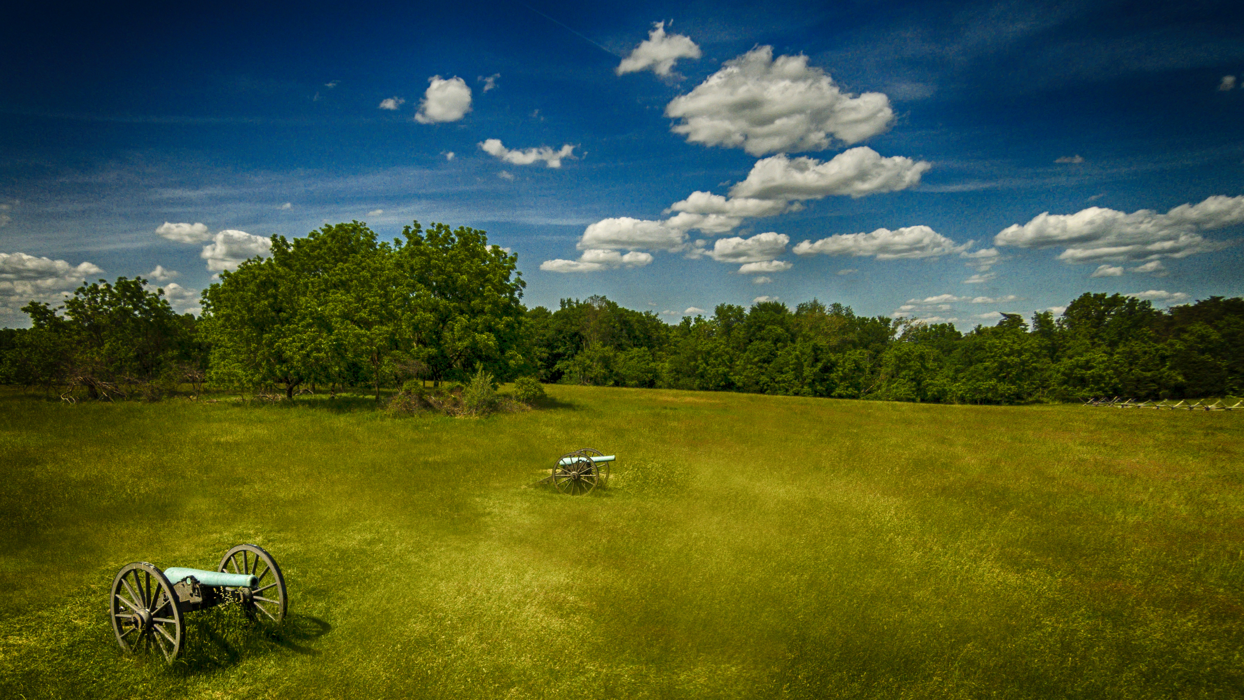 Two canons overlooking the battlefield - edited with Adobe Photoshop and Nik Software