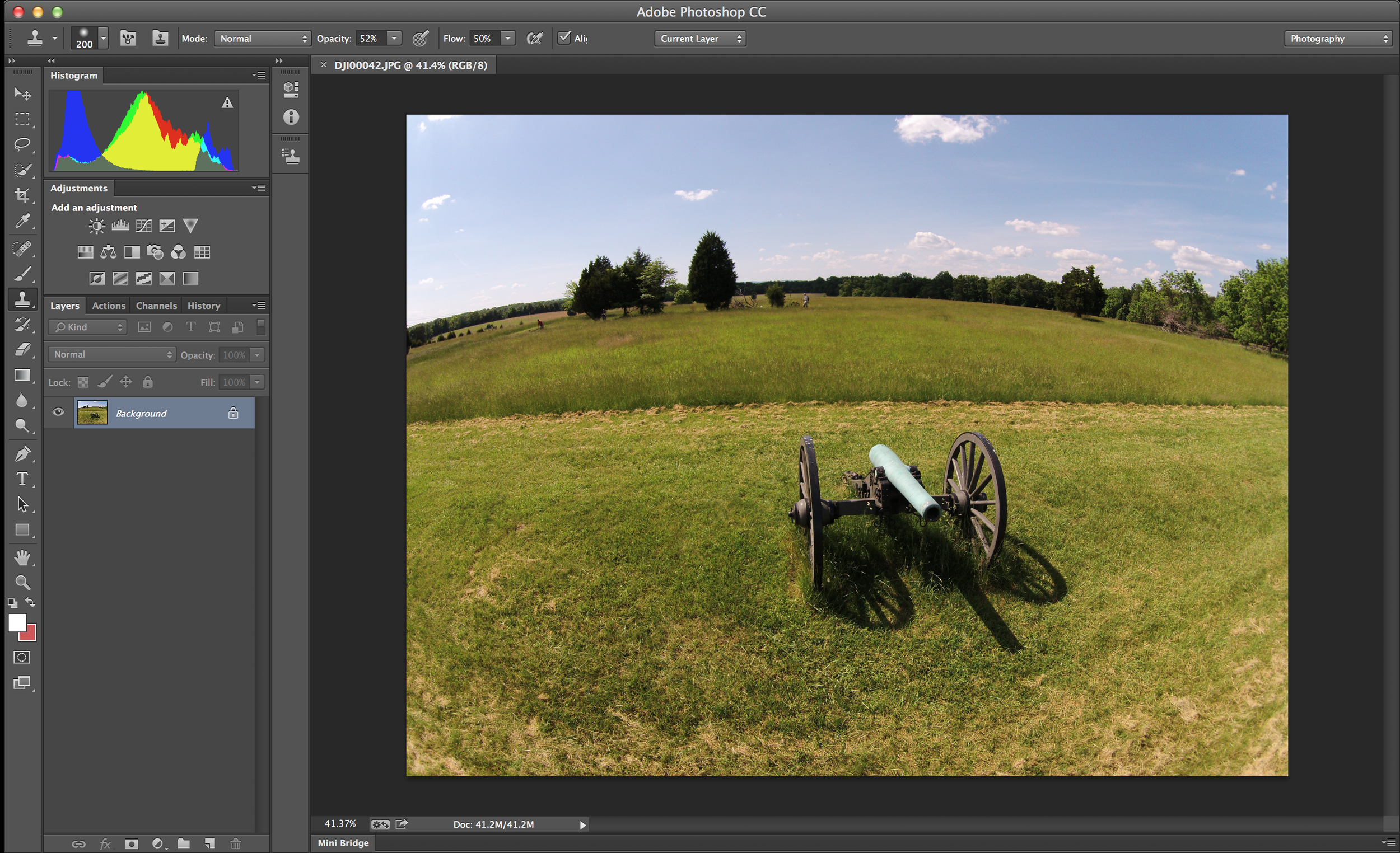 Before using the lens correction: the photograph has a severe fisheye effect that can be hard to correct manually.
