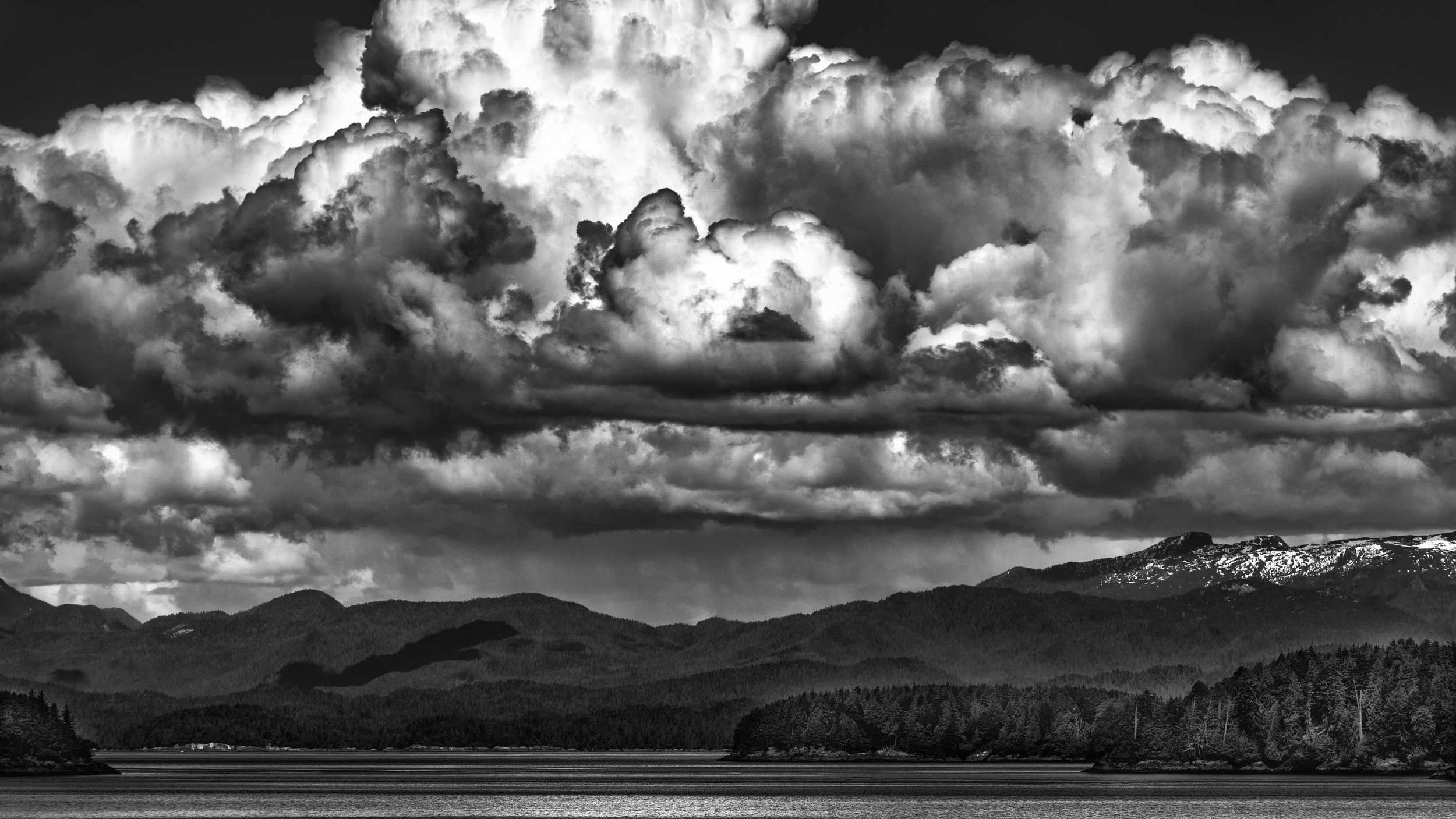 A thunderstorm brewing over the islands of coastal Alaska