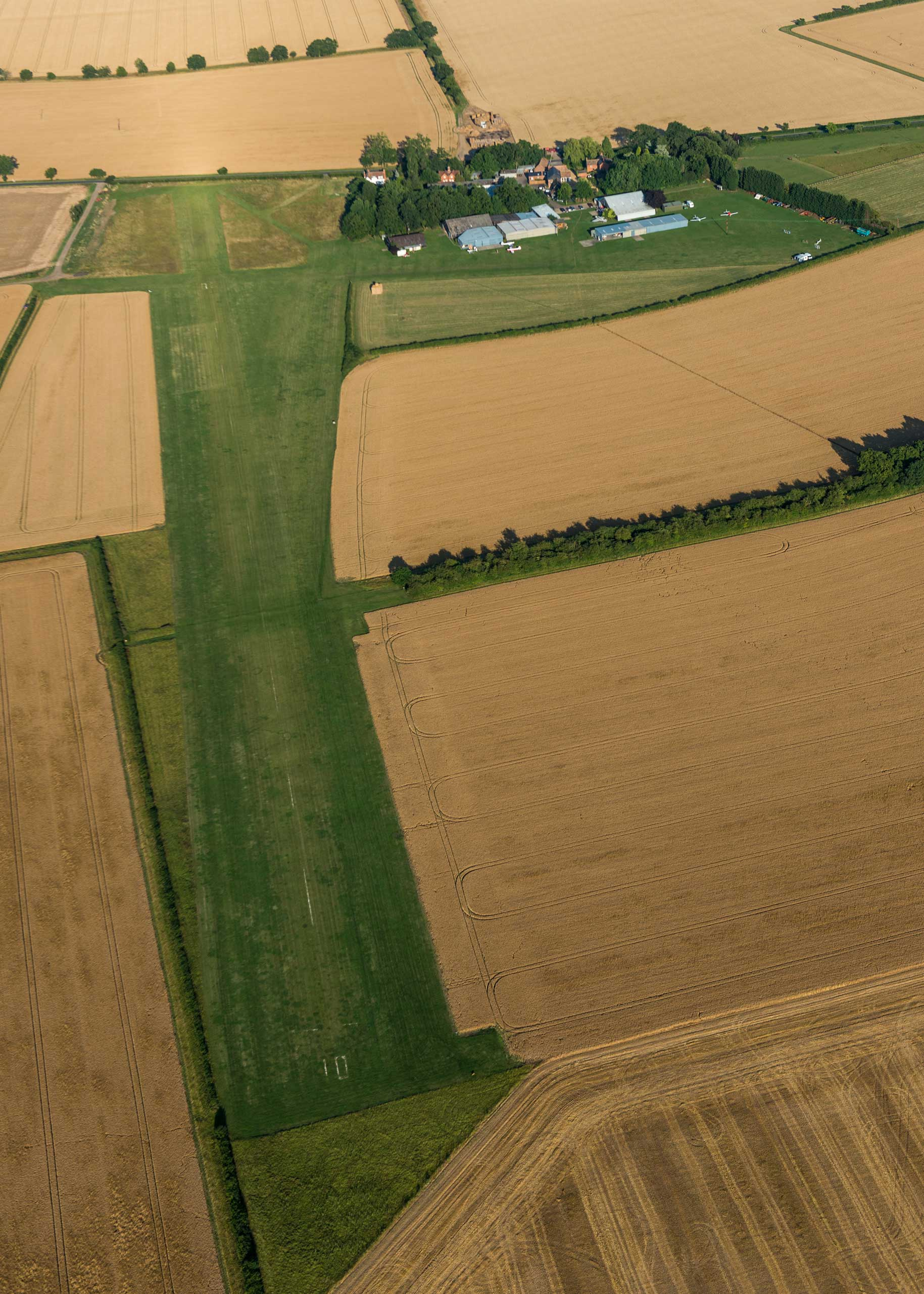 A view of the Little Gransden Airport and grass airstrip.