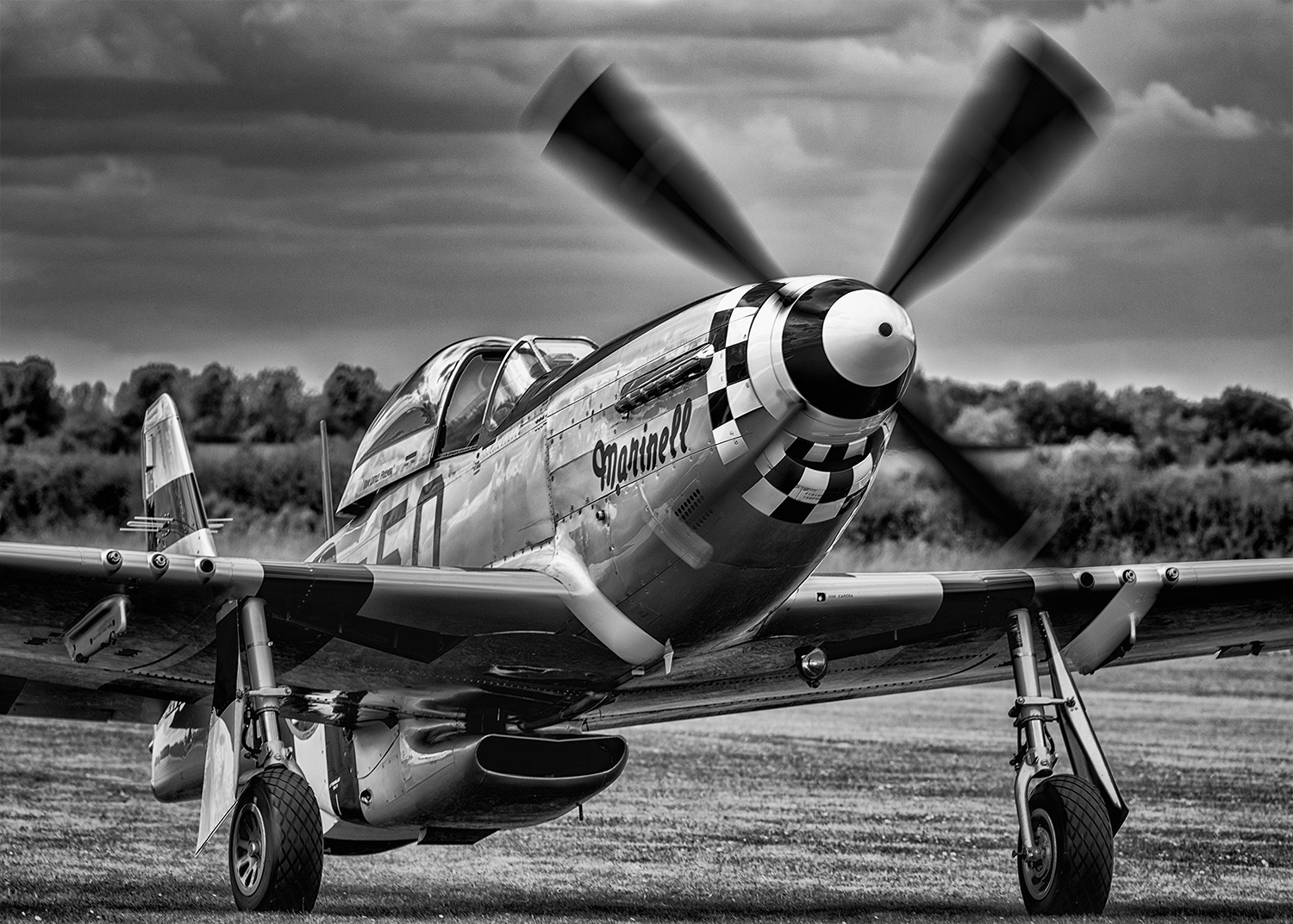 "The P-51 Mustang named ""Marinell"" taxiing down the flight line after landing. I love this photo in black and white to show off the polished metal on the fuselage of the aircraft."