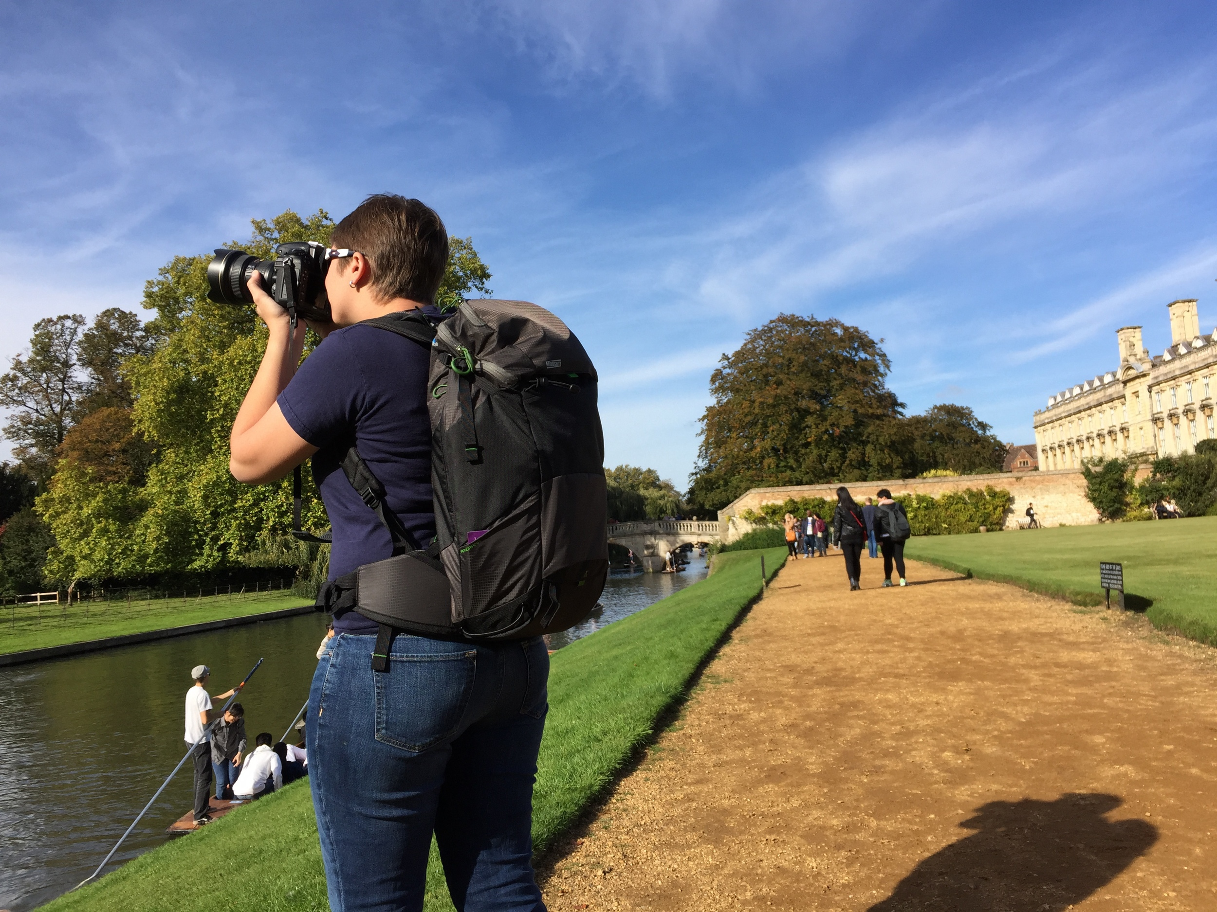 I wanted to get the Rotation 180 Panorama for short day trips like this one through Cambridge, England. The Rotation 180 Professional was just too much bag when I only needed to carry one or two lenses, but the 180 Panorama really excels at filling this niche.