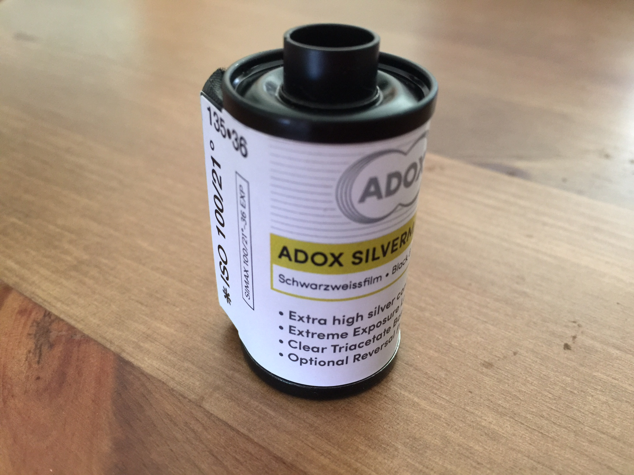 The exterior of a roll of 35mm Adox Silvermax film