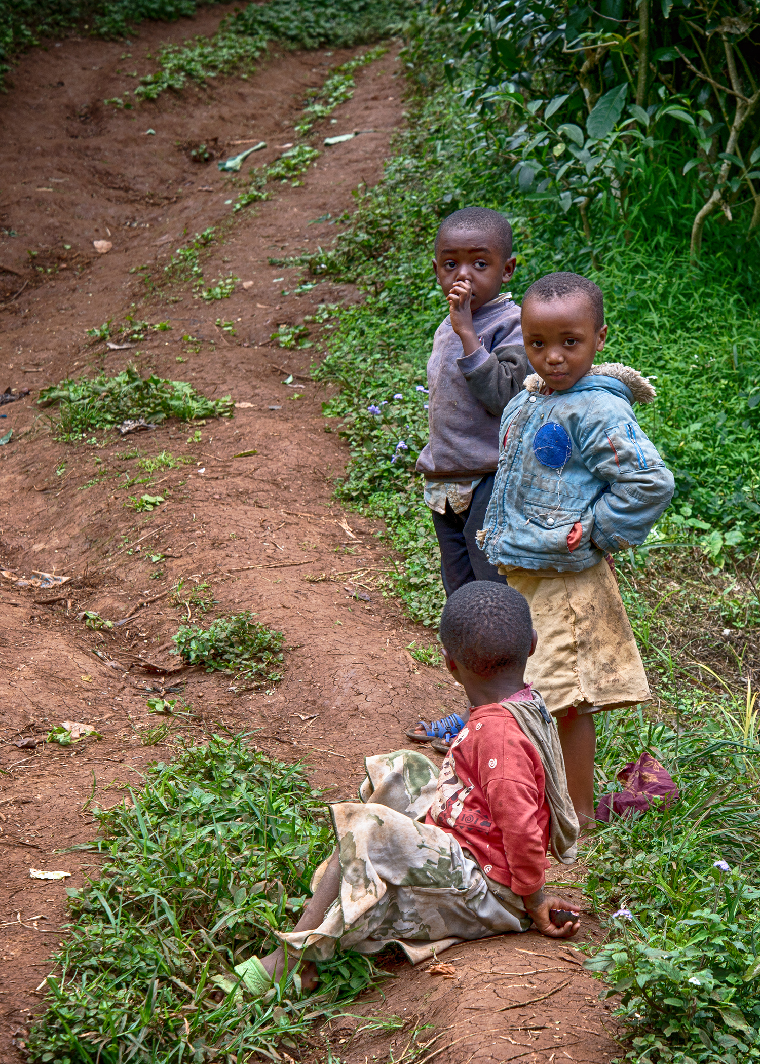 Some village children sitting by the side of the road. They were very amused and curious to watch the white people since they see so few tourists.