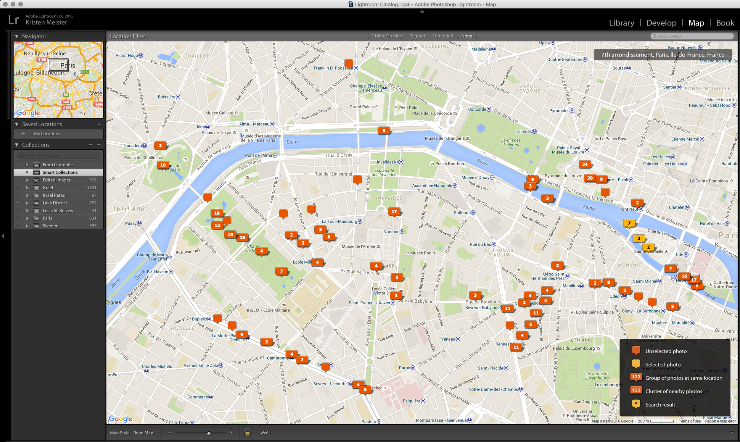 Adobe Lightroom view of my GPS tagged images around Paris, France. The slight drain on the battery that is involved with running the GPS is worth it to have this historical data.
