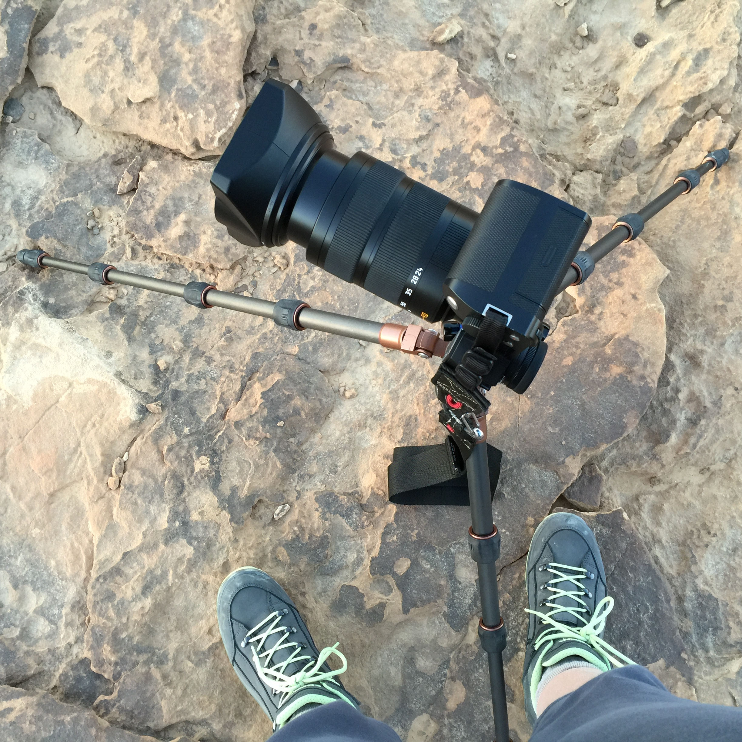 The Leica SL with the Leica 24-90mm lens on a 3 Legged Things tripod in Jordan. This setup was for a panorama shot of the sun setting over the Wadi Rum desert.