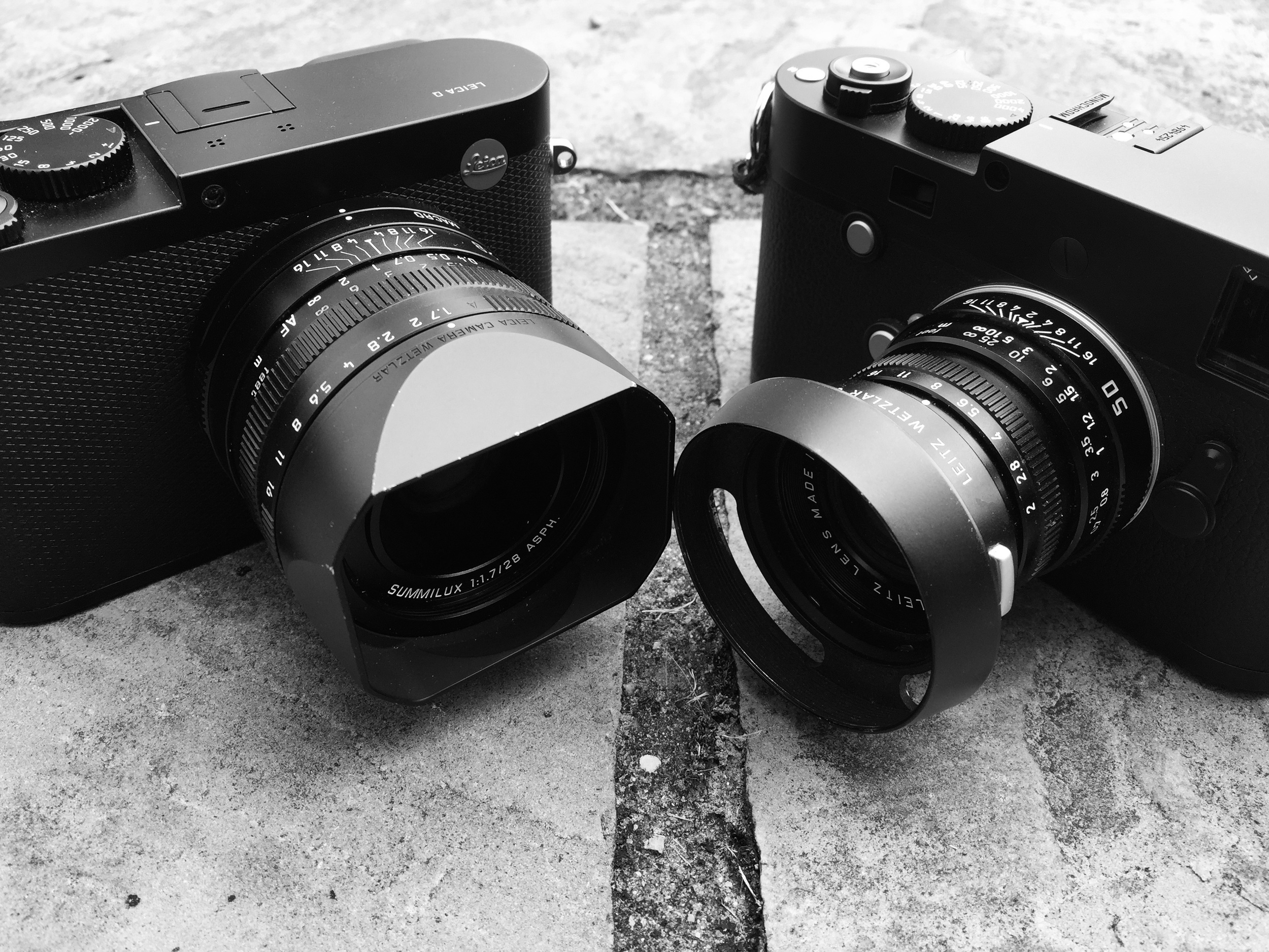 The contestants - the Leica Q with the 28mm lens vs the Leica Monochrom with a 50mm Summicron. I don't own a 28mm lens to put on the Monochrom, so I cropped the Q files to give the same field of view.