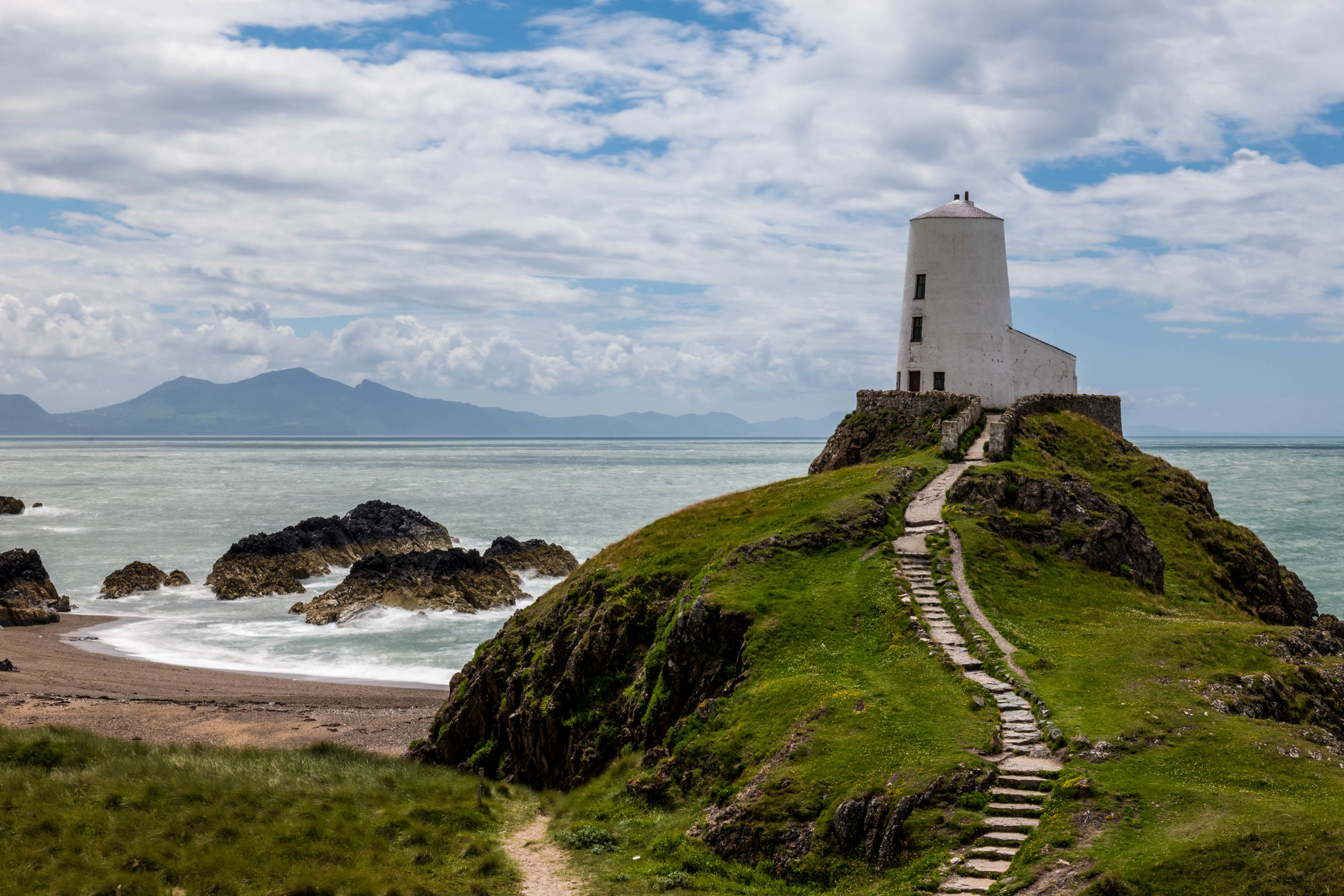 The lighthouse on the edge of Llanddwyn Island, northern Wales