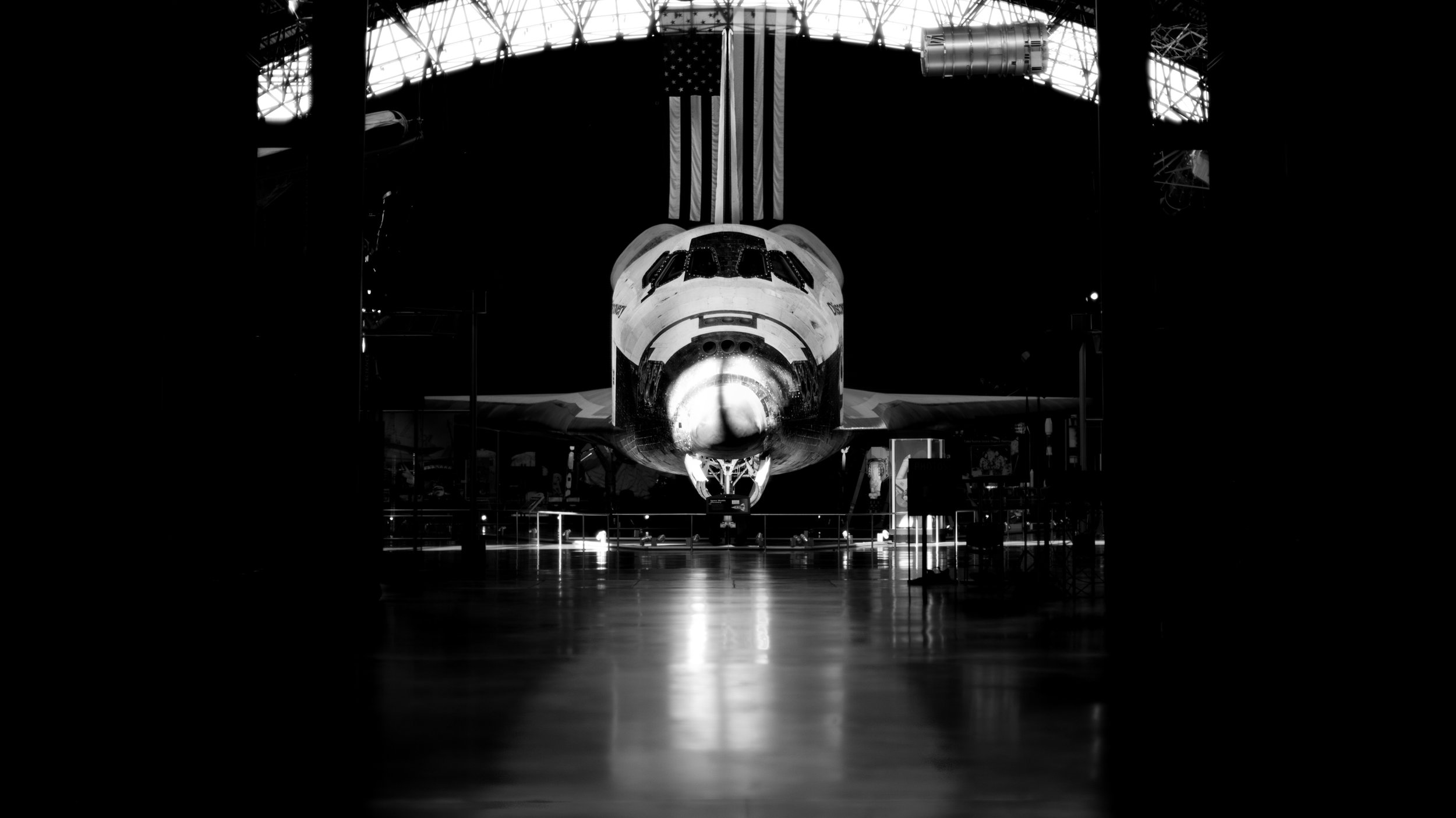 The space shuttle sitting alone in the hangar of the museum. I intentionally underexposed the image to isolate the subject - the morning light was perfect for capturing the shuttle in isolation.