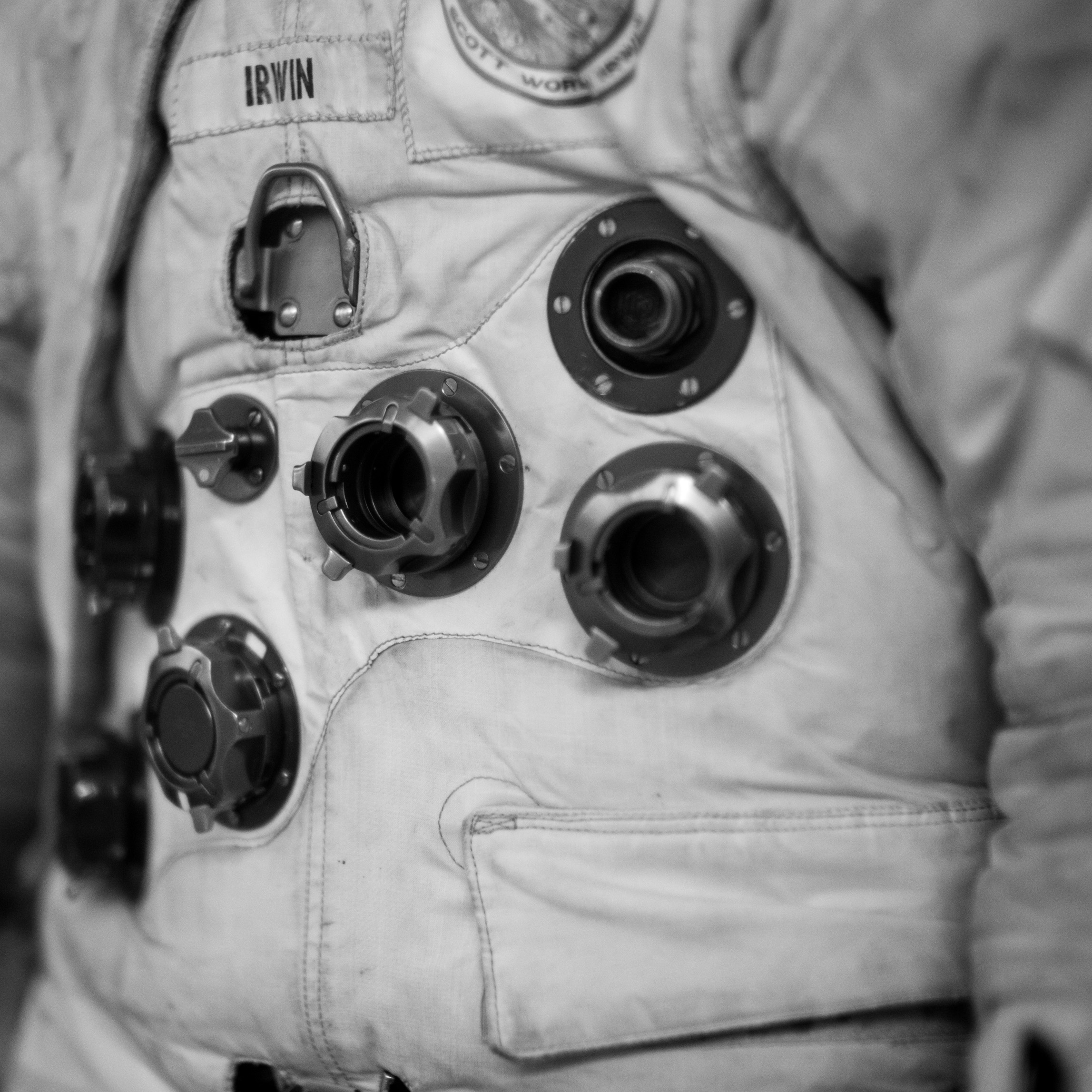Close-up detail of the space suit worn by one of the astronauts on a space flight.