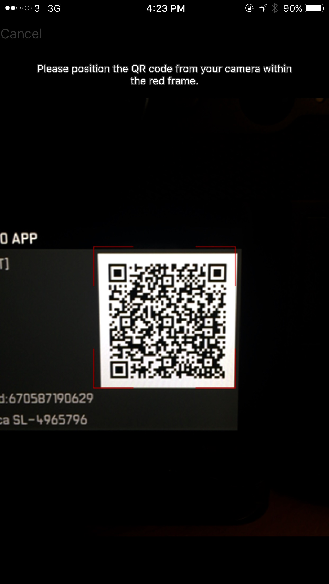 The screen to have your phone read the QR code on the back of the SL screen.