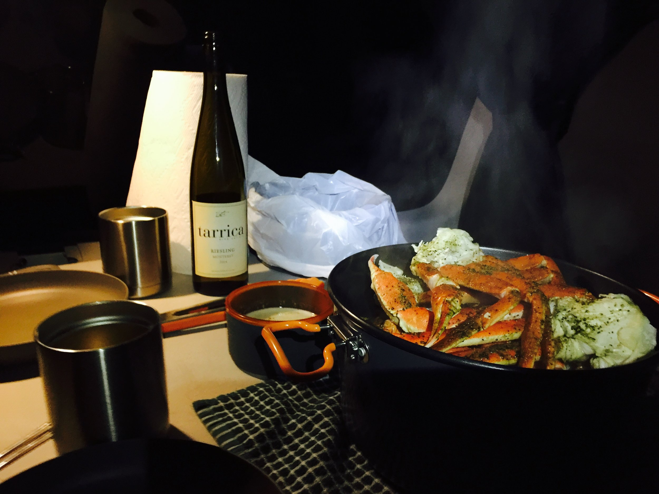 Your imagination is the limit when it comes to van dinners. I steamed a pot of crab legs and shrimp, along with drawn butter and a local California wine!
