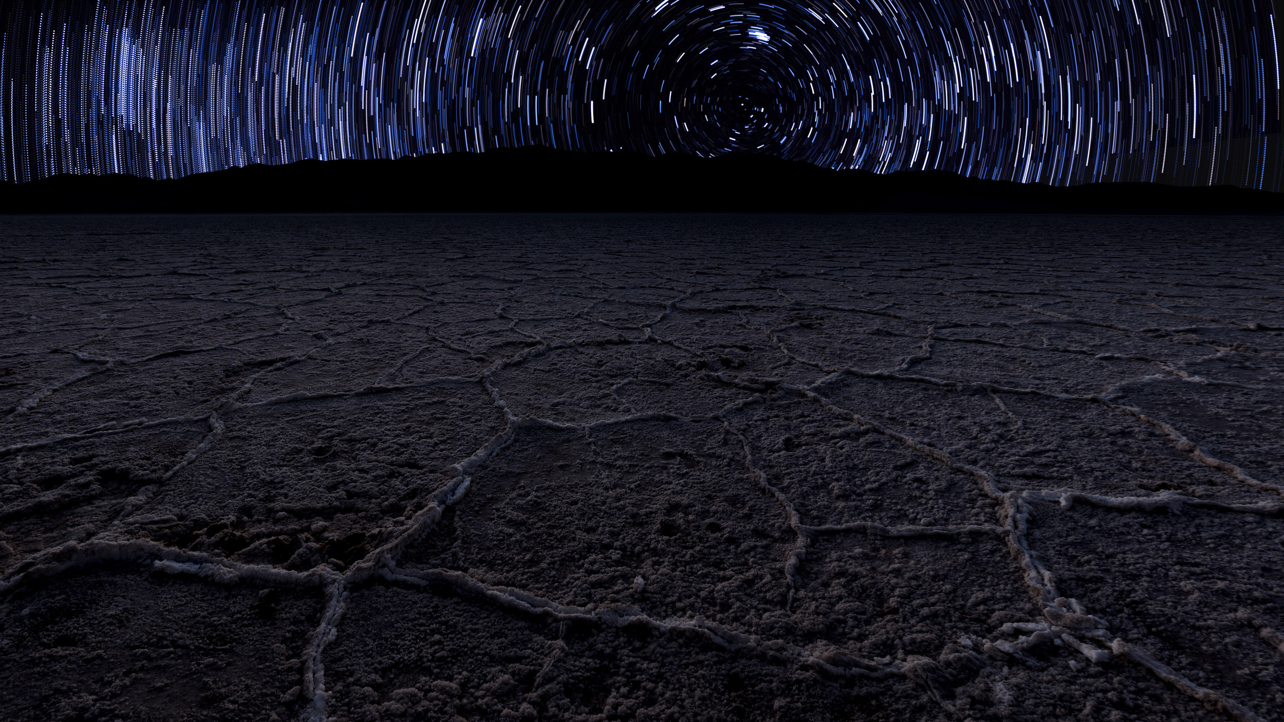 Star trails over Badwater Basin in Death Valley National Park, California