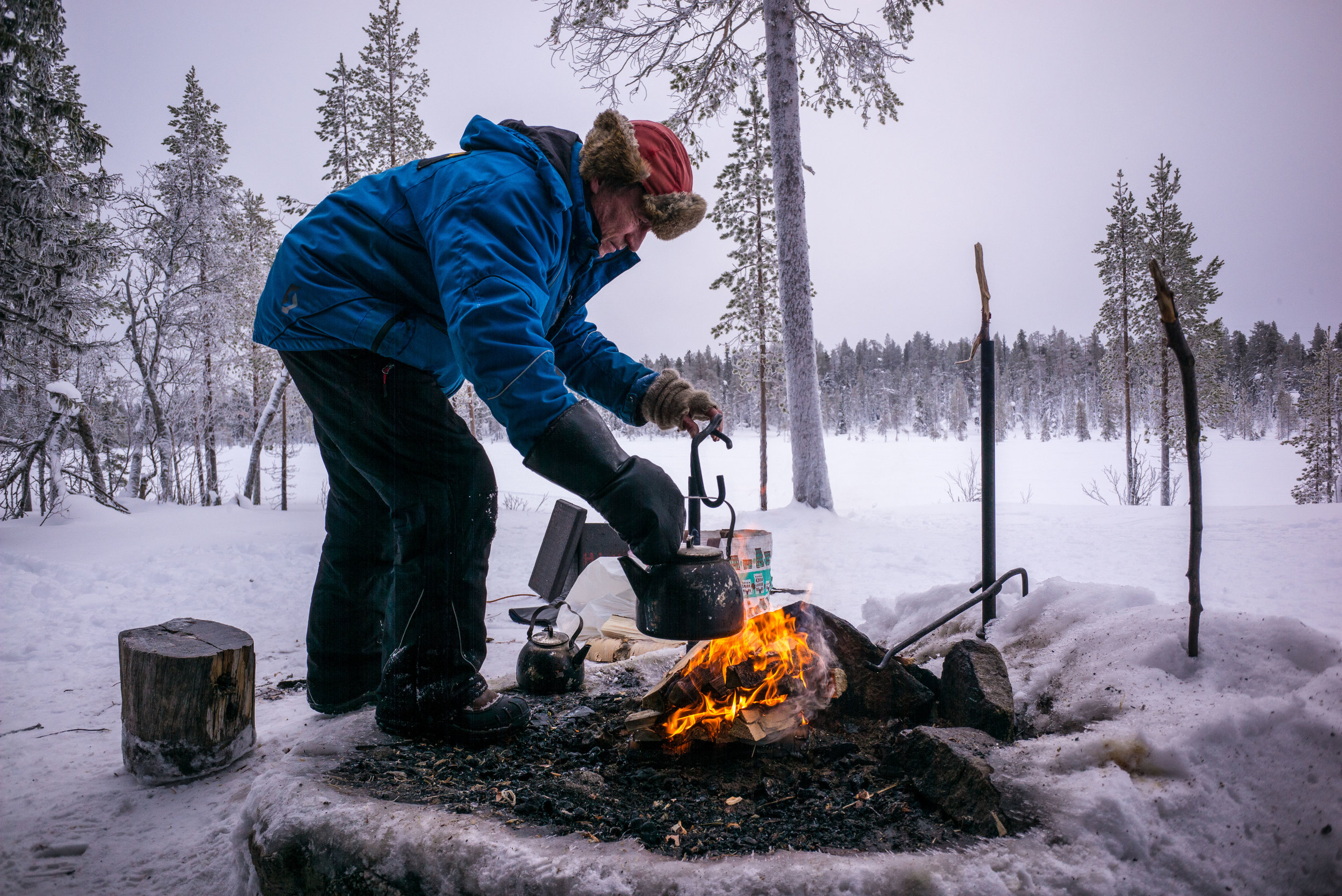 Lunch and coffee over a fire in the middle of the wilderness