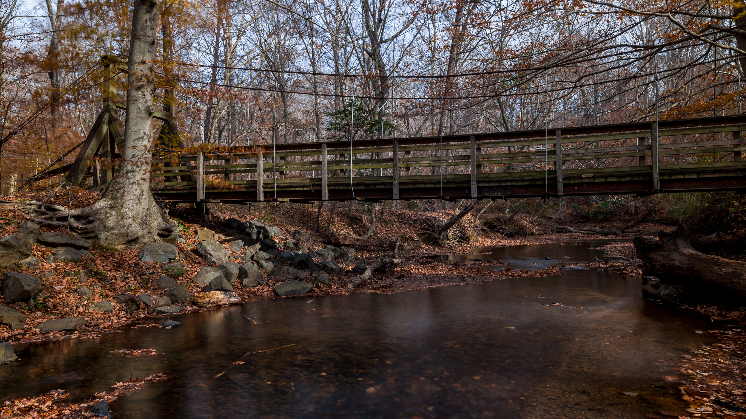 I stood in the water (with good boots) to get a long exposure of the creek running under the bridge