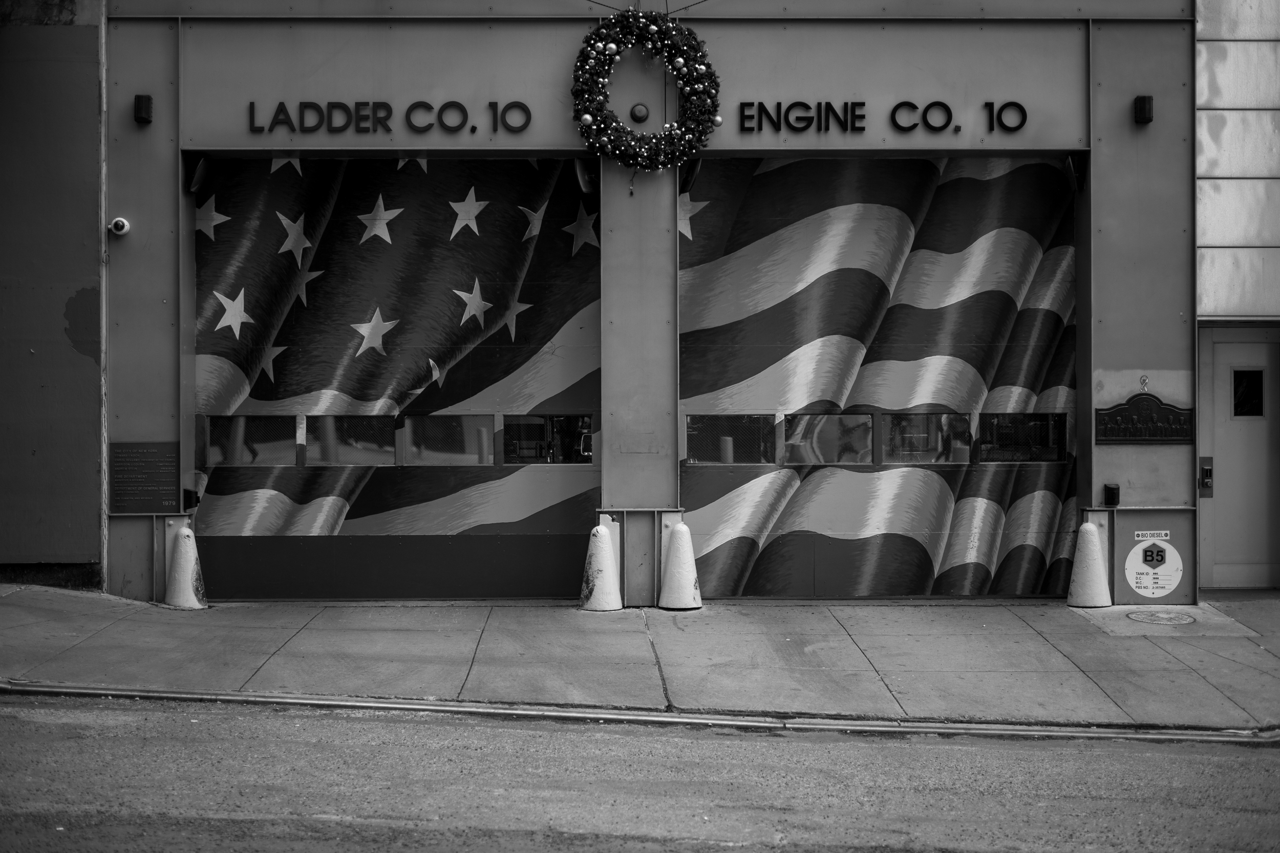 Less than a block from the World Trade Center is a fire station home to ladder company 10. Six fireman from this company died rescuing others on 9/11.