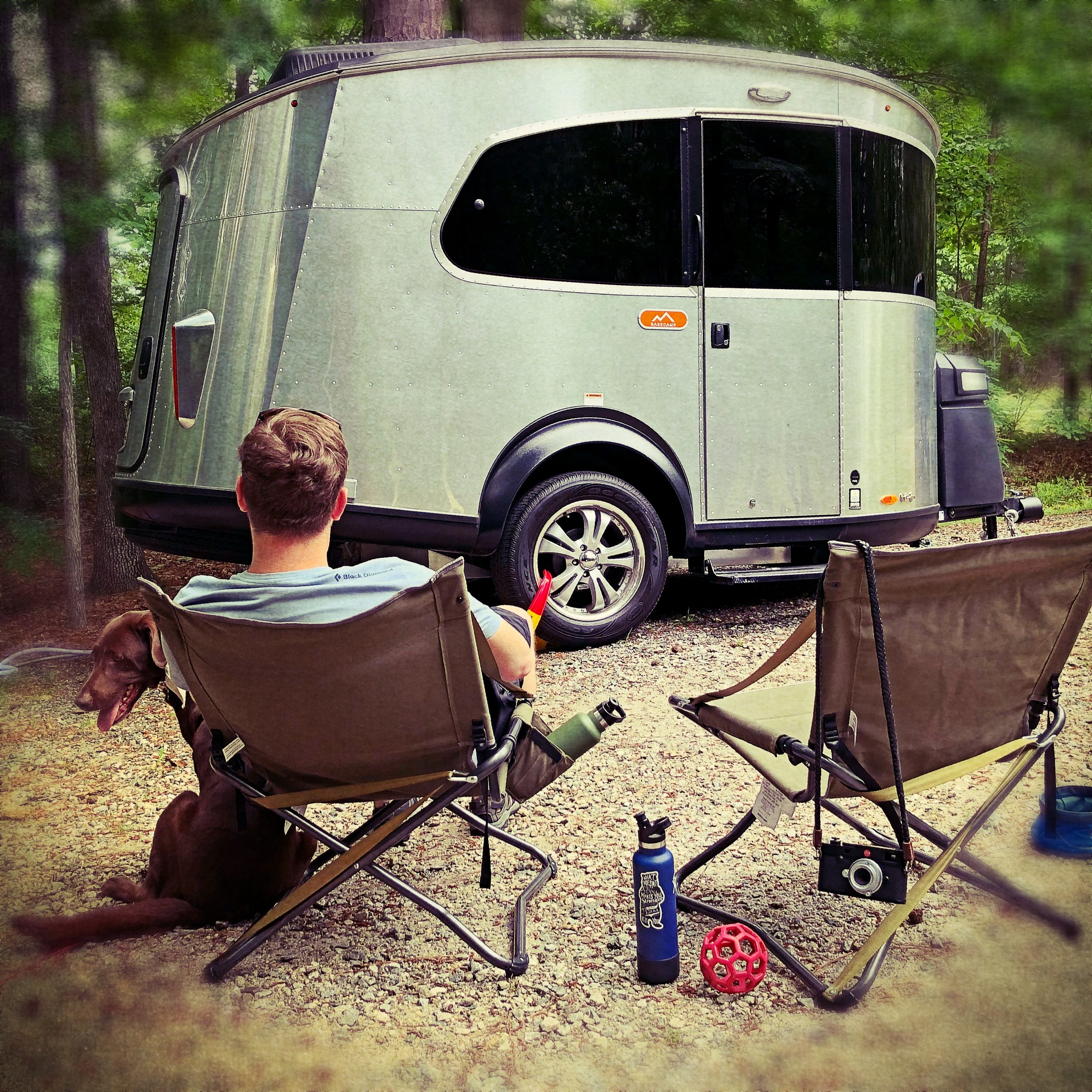 Relaxing outside our Airstream Basecamp