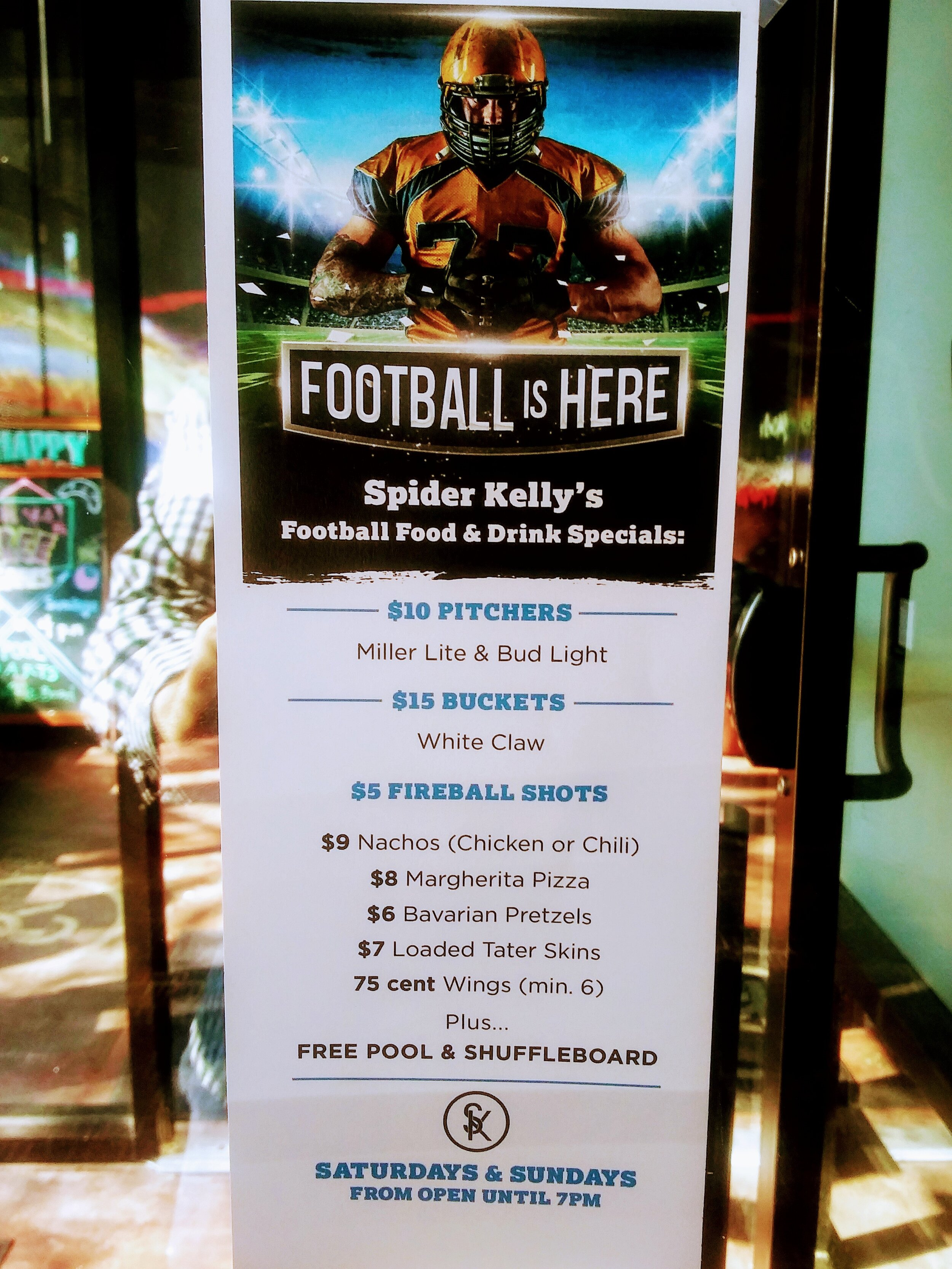 Enjoy the best football specials in town every Saturday and Sunday til 7pm!