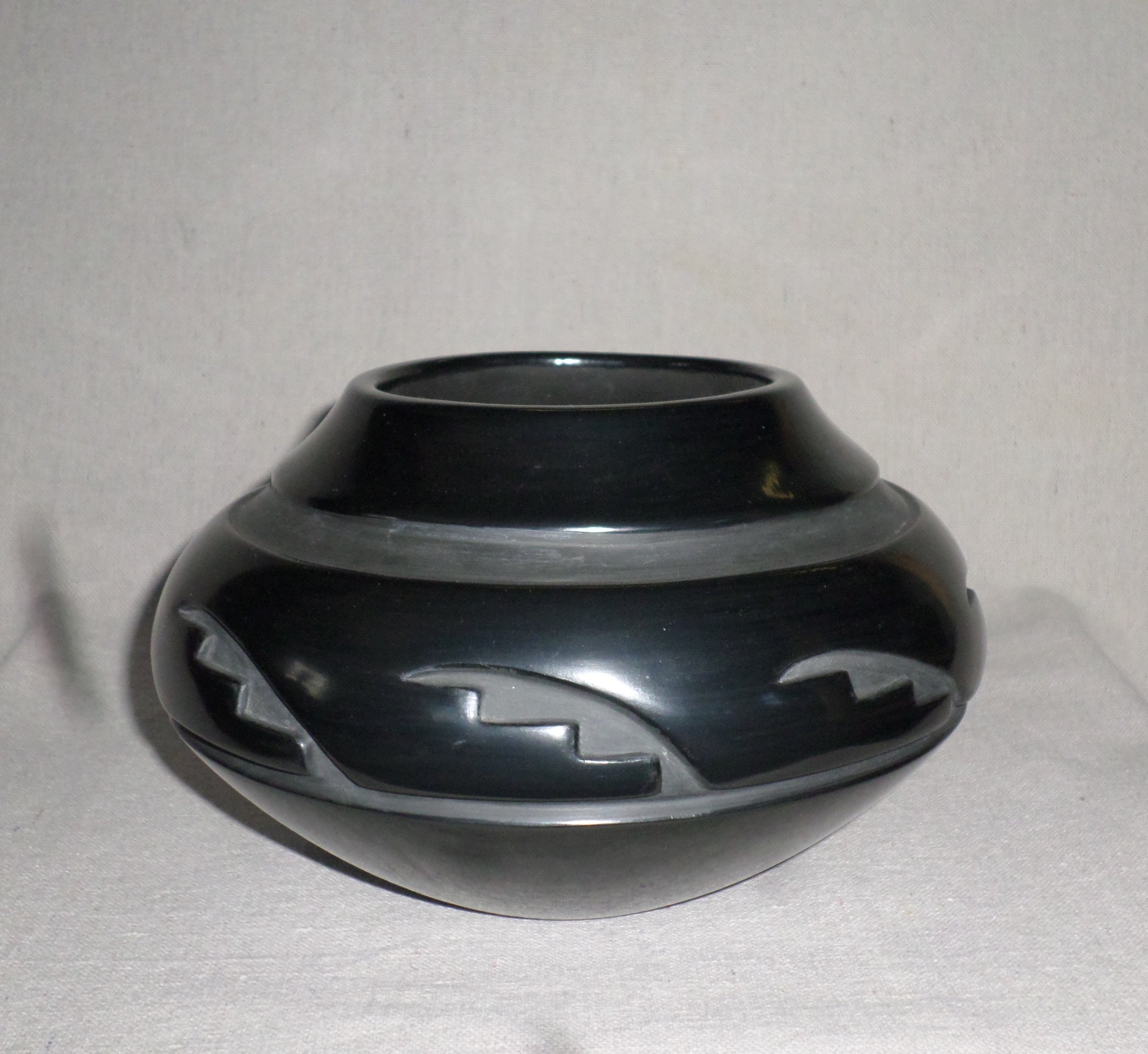 """Black carved Kiva Step Desjgn Jar  5-1/4"""" H X 8-3/8"""" Dia.  SOLD"""