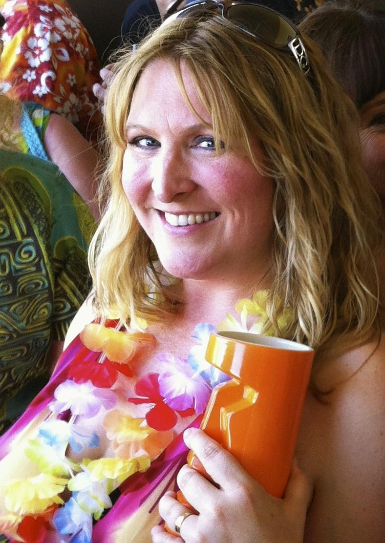 """Kalani holding her favorite mug """"Big Orange Richard"""""""