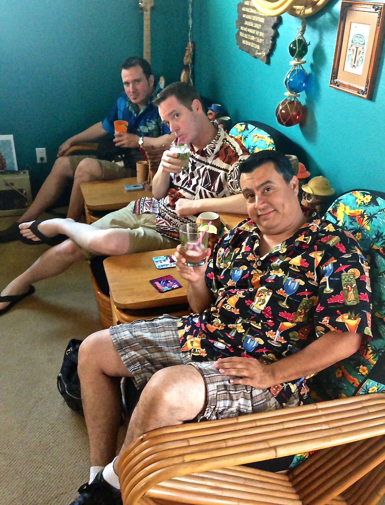 Rory Snyder, Sunshine Tiki and Marty Lush enjoy a quiet moment after recording the podcast.