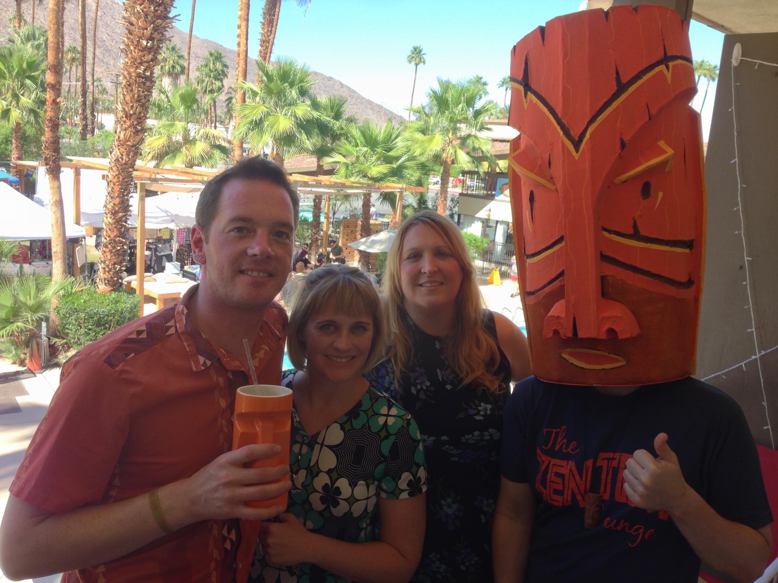 Sunshine, Starshine, Kalani and Mr. Tiki enjoying the Palm Springs weather at Mod-Palm Springs
