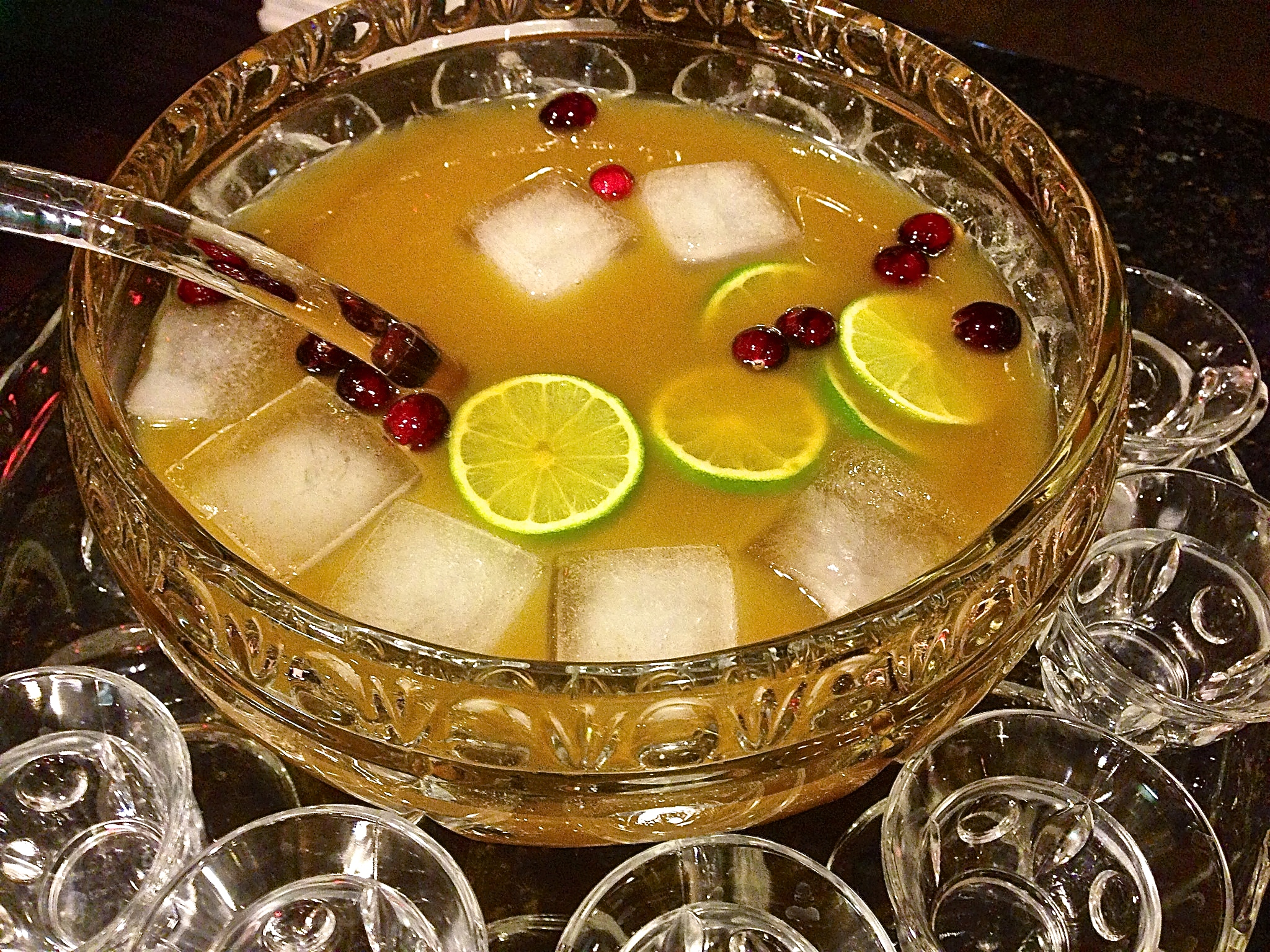 A festive punch bowl filled with rum, spices and fresh juices always makes the holidays bright.