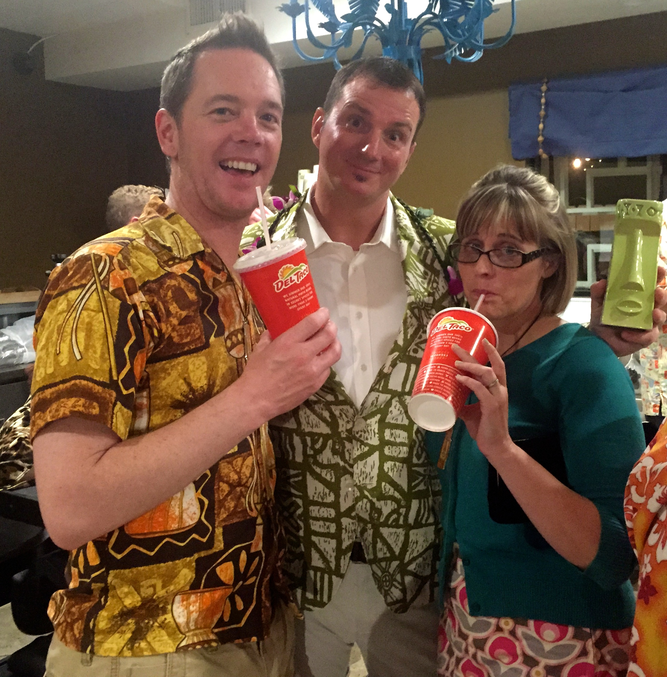 Sunshine, Rory Snyder and Starshine pose with our classy Del Taco beverages.  You can't go wrong with Del Taco for after drinking snacks and hydration.