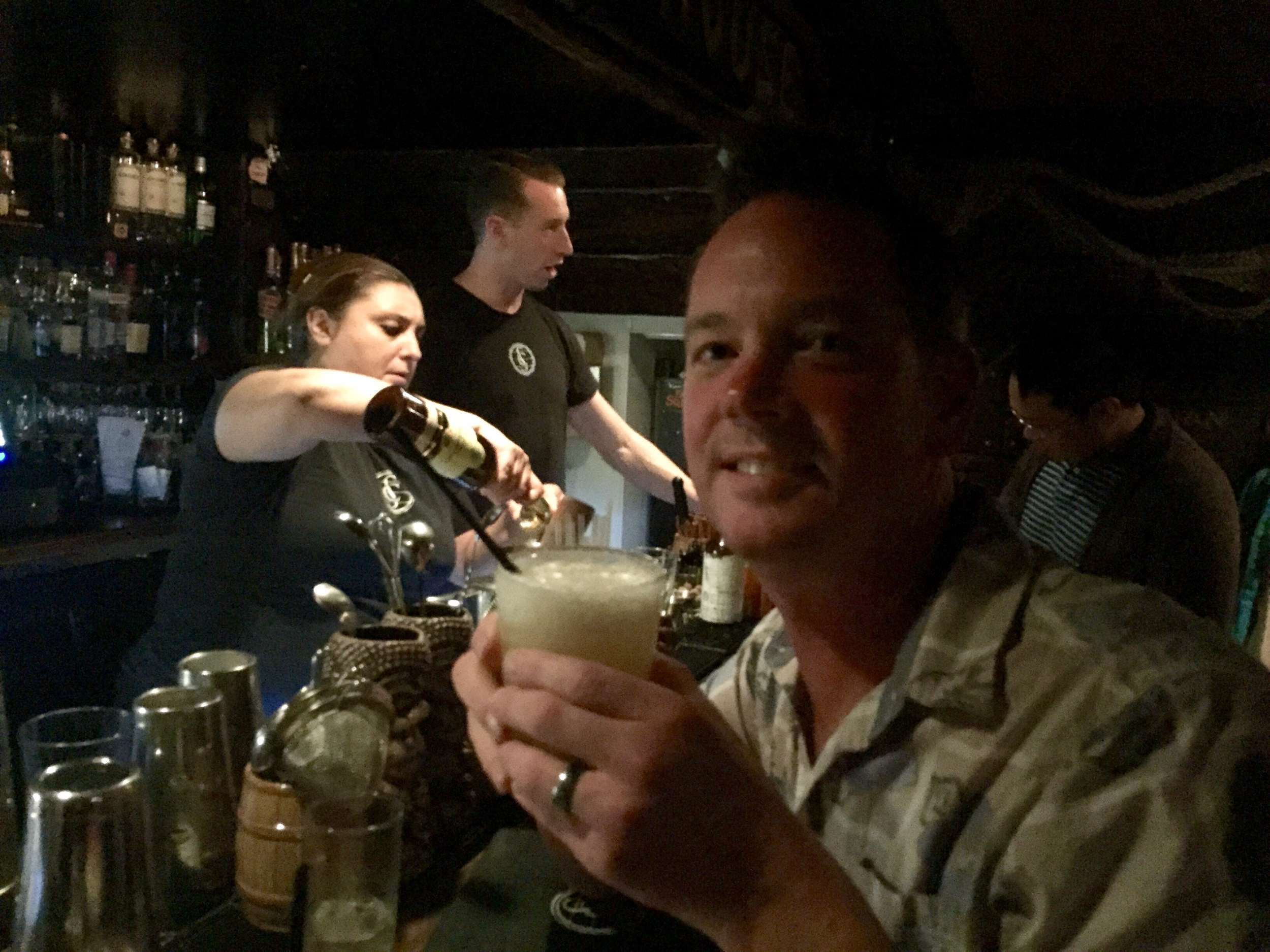 Melissa is mixing another tiki drink masterpiece at Smugglers Cove