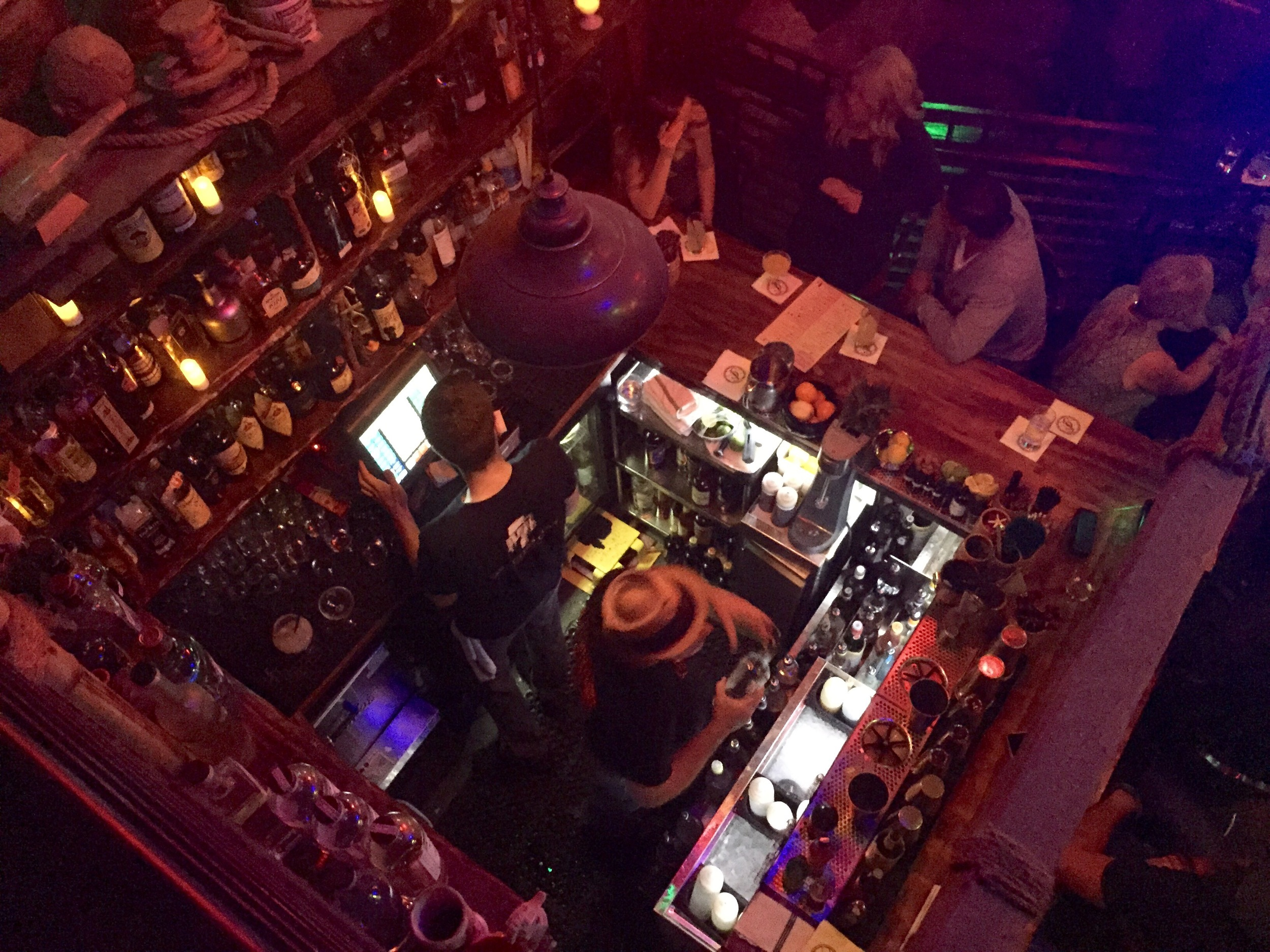 A view of the main bar at Smugglers Cove from the balcony.  Be sure to visit all three levels of this wonderful tiki experience in San Francisco