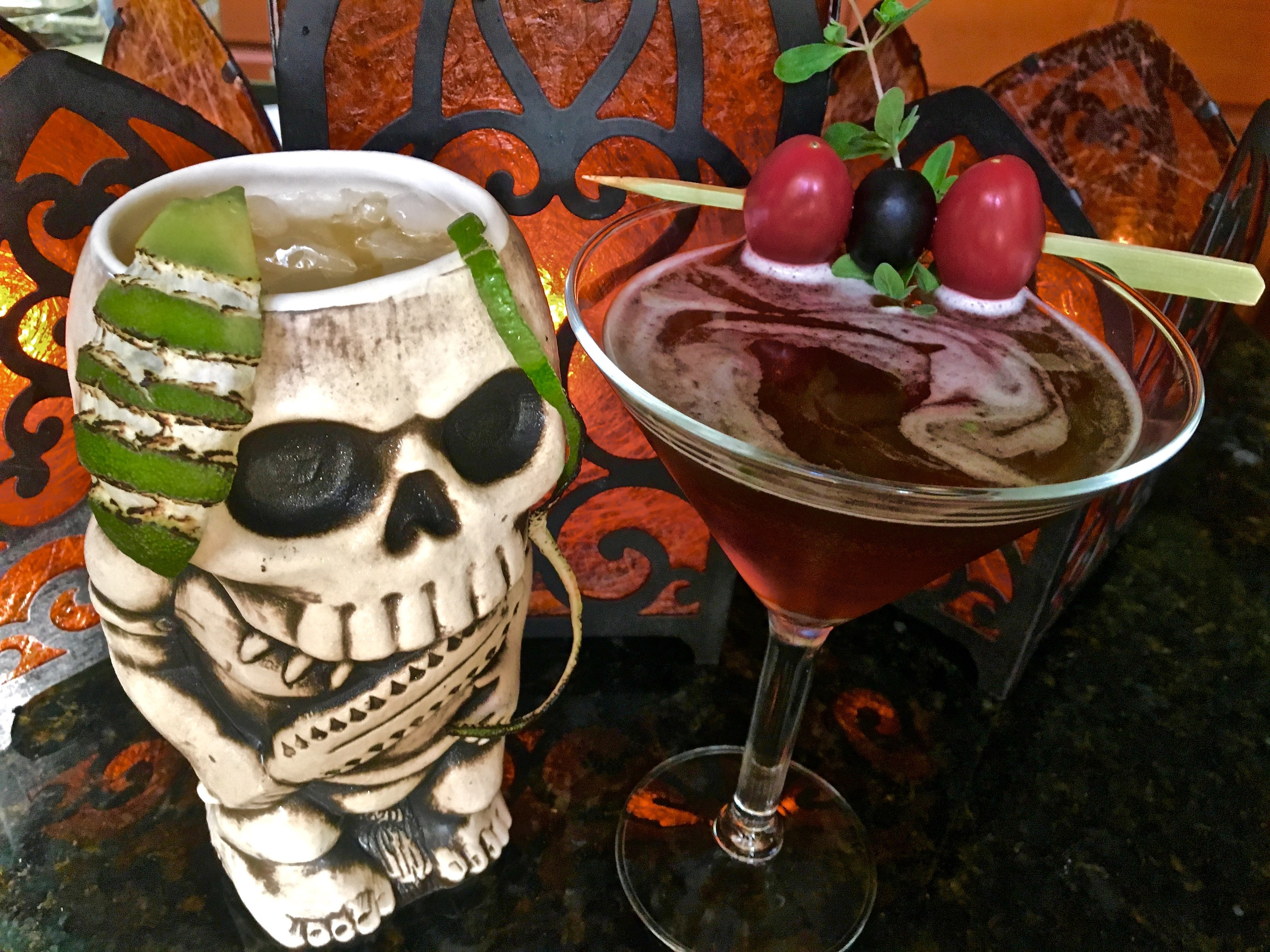 From Left: Voodoo Kiss, Black Sapphire Gin Martini (recipes on the podcast)
