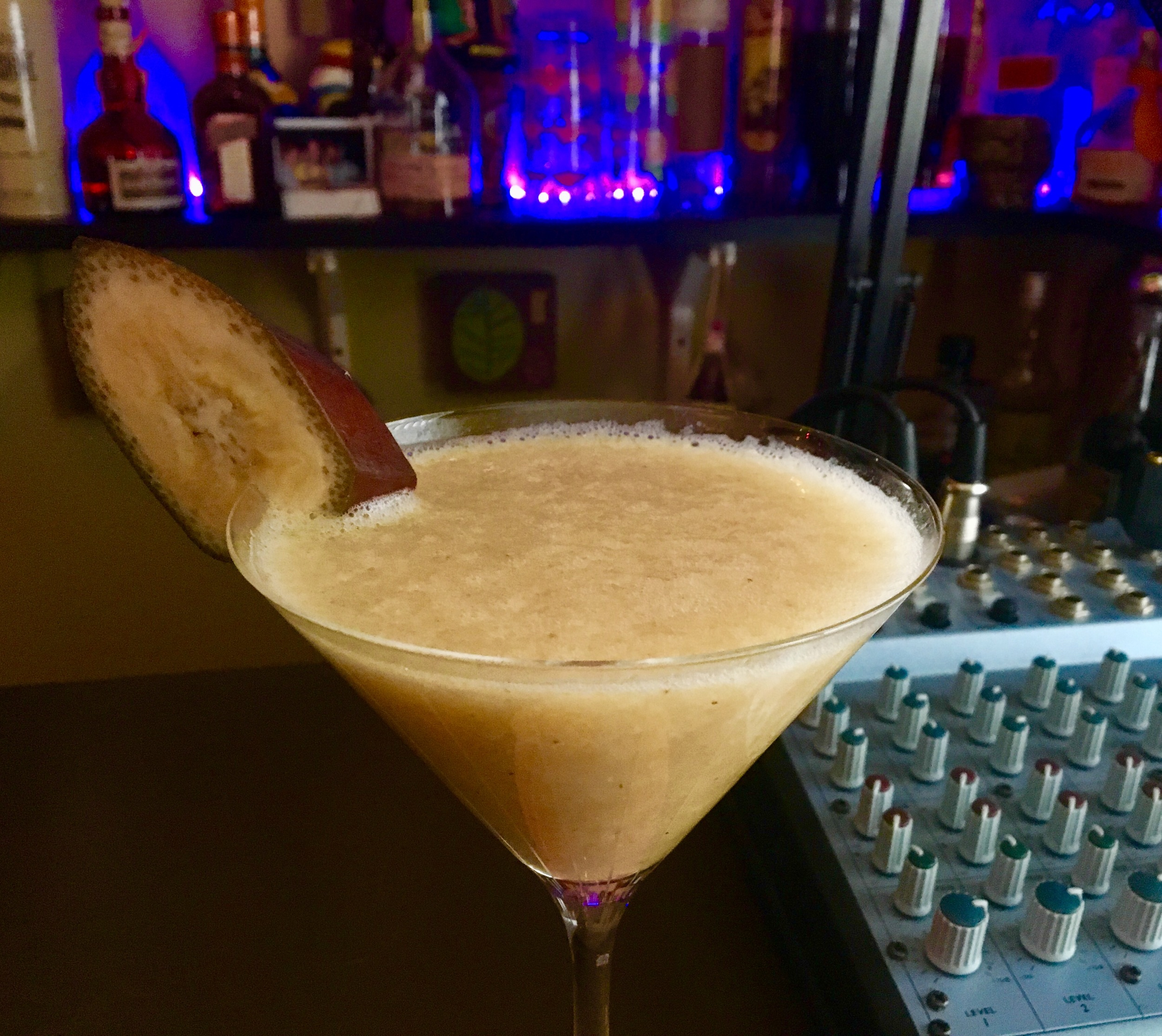 A REAL banana daiquiri is nothing more than rum, banana, lime juice, ice and sugar. Listen to the show for the recipe or get the app from Beachbum Berry, look for Total Tiki in any app store.