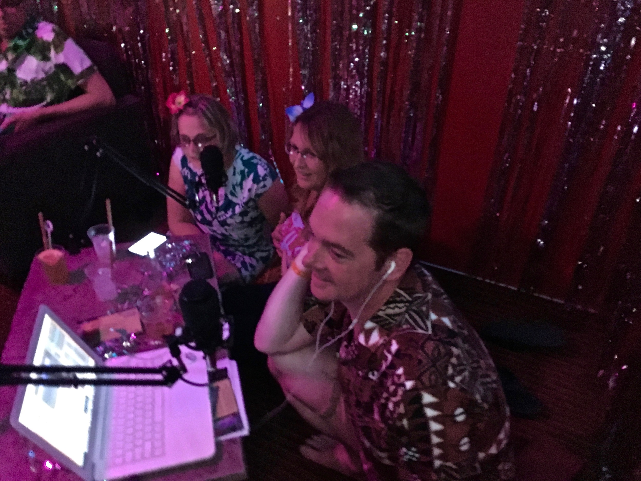 Sunshine, Starshine and Kalani behind the mic recording our LIVE episode.