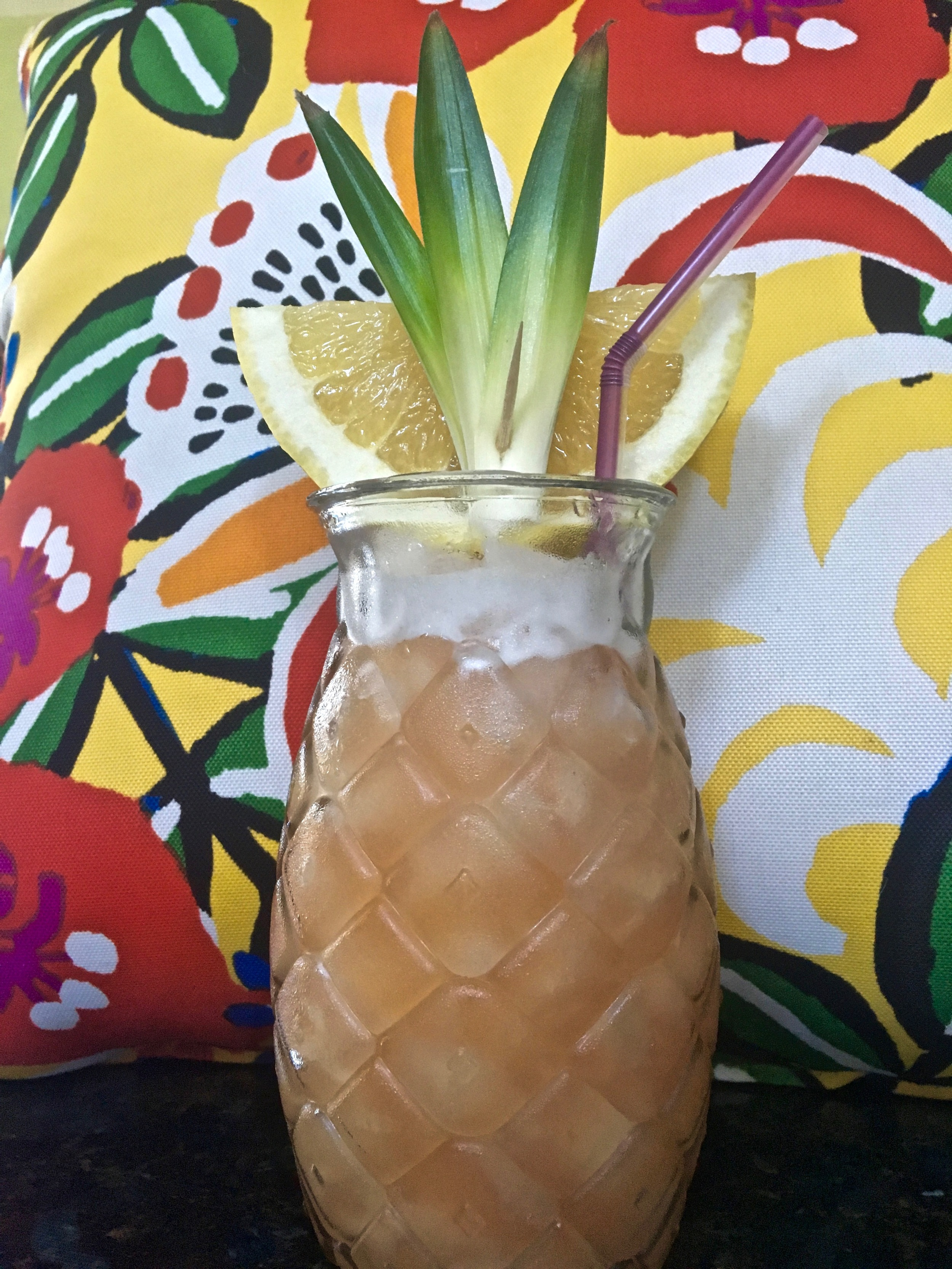 Tiki Italiano is the perfect Summer sipping cocktail.  Not too sweet and packs a potent enough punch for those who prefer not to dilute their cocktail with too much fluff.  Pineapple and grapefruit juices combined with Italian spirits and rum were meant to be together.