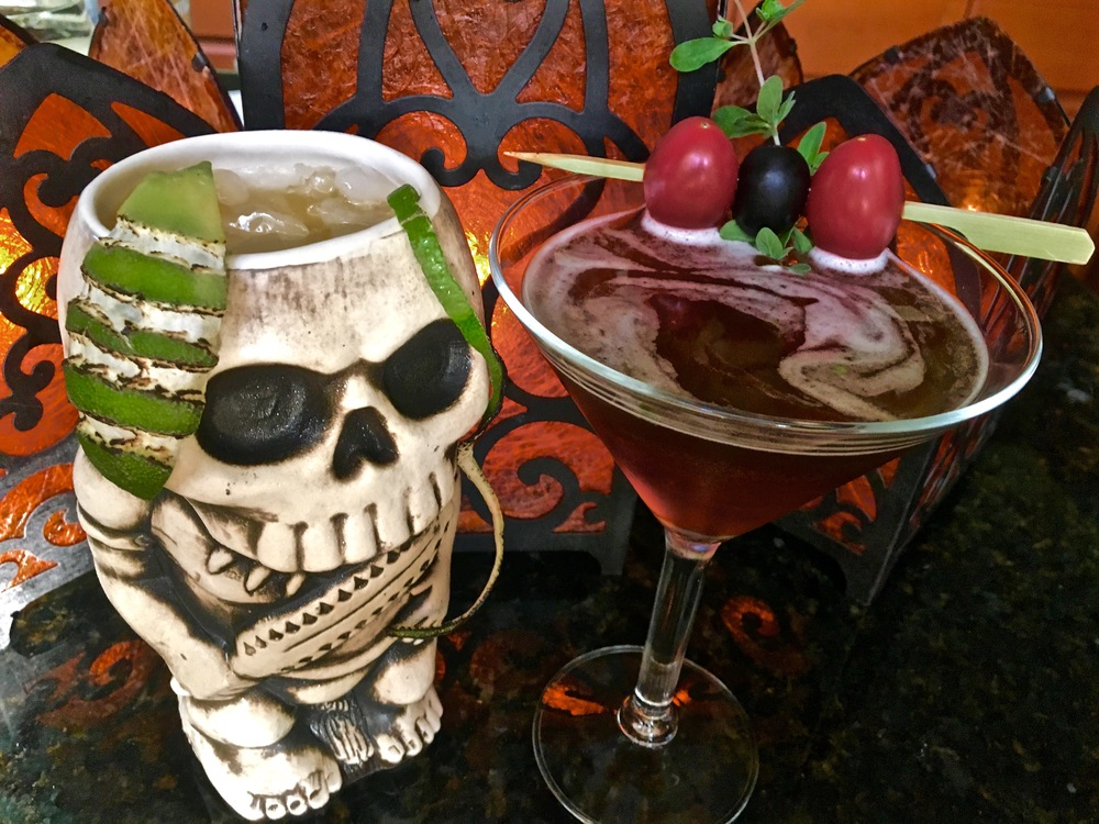 We wouldn't leave you hanging without a few cocktail ideas for your Halloween shindig. Try Voodoo Kiss or the Black Sapphire Martini. One sweet and one savory.  http://www.zentikilounge.com/drinks/black-sapphire-martini-and-voodoo-kiss
