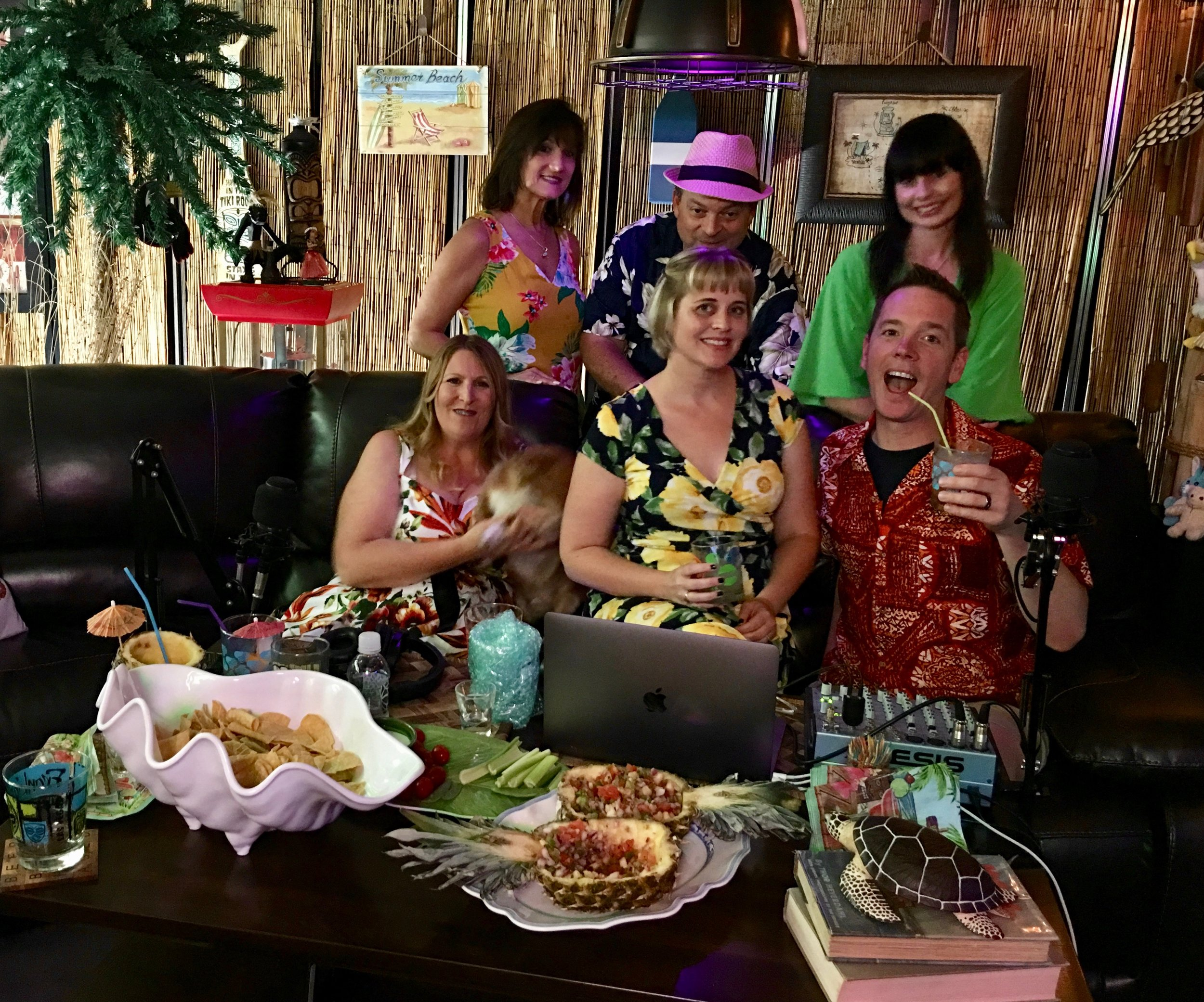From left to right top: Vicki, Jeff, Pumpkin, Kalani, Starshine and Sunshine at the Taki Tiki