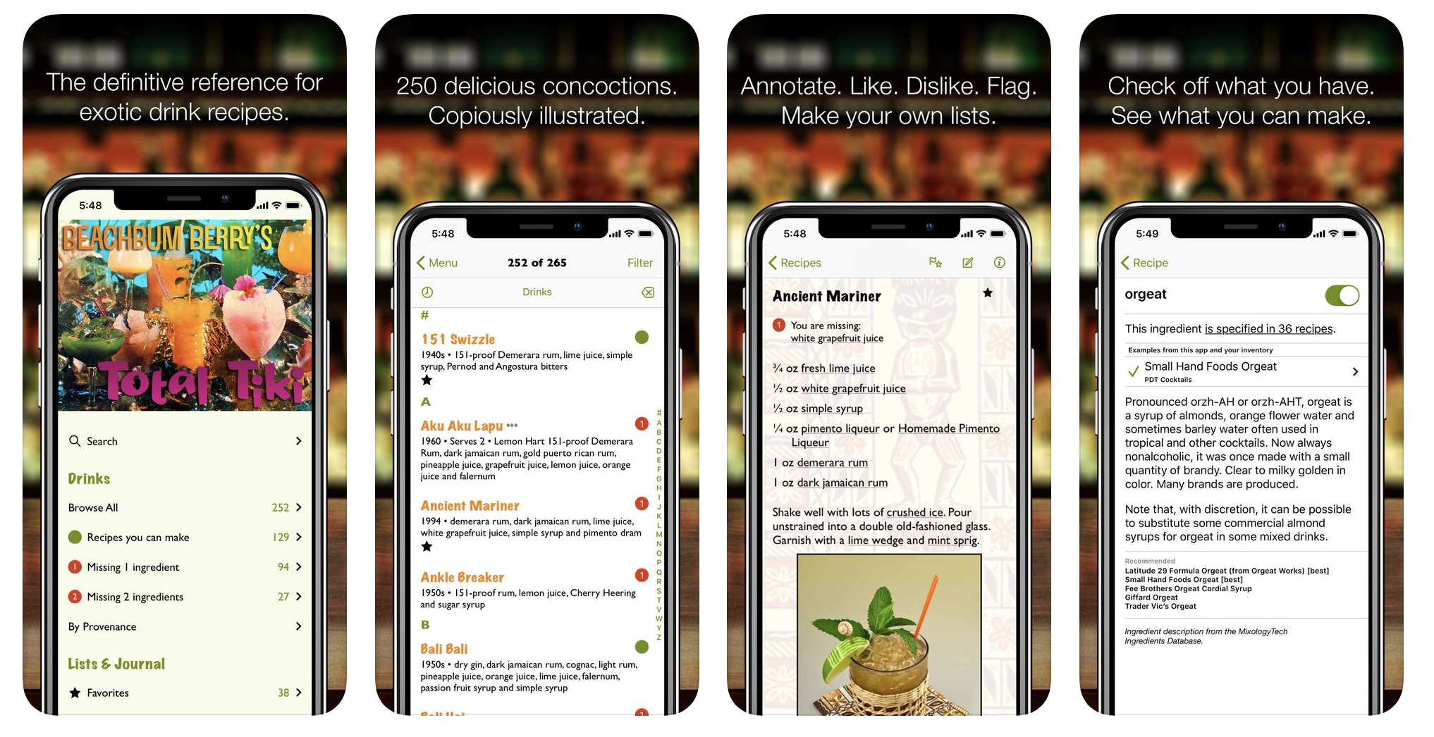 Mentioned above the  Total Tiki app by Beachbum Berry  is the best $10 you will ever spend on a cocktail app.
